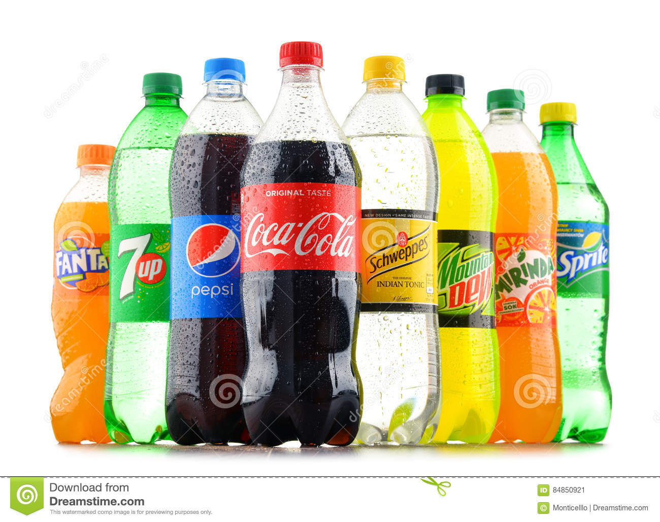 Bottles Of Assorted Global Soft Drinks Editorial Photo - Image of