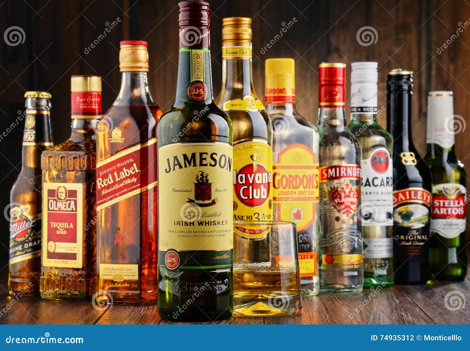 Bottles Of Assorted Hard Liquor Brands Editorial