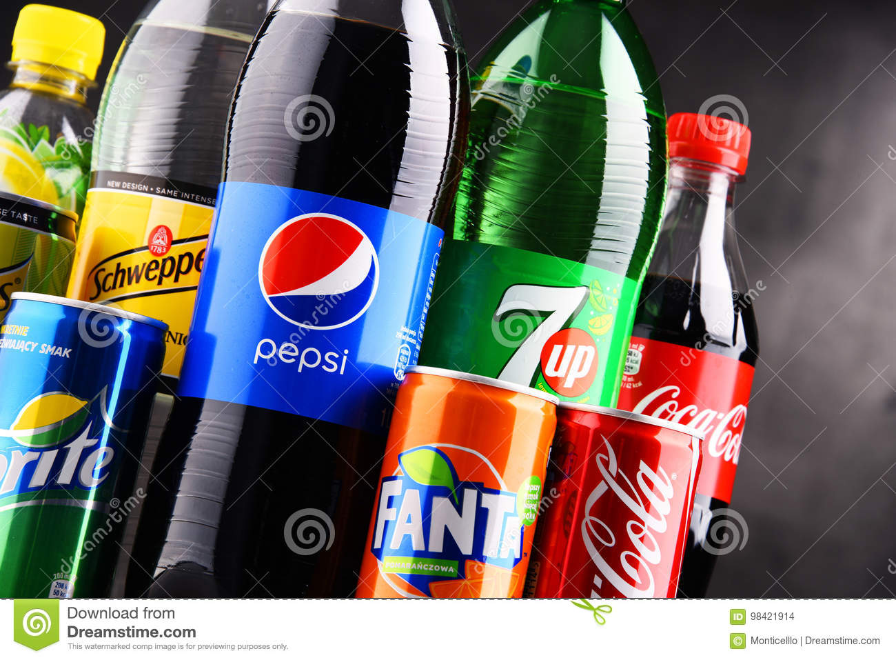 Bottles And Cans Of Assorted Global Soft Drinks Editorial Stock