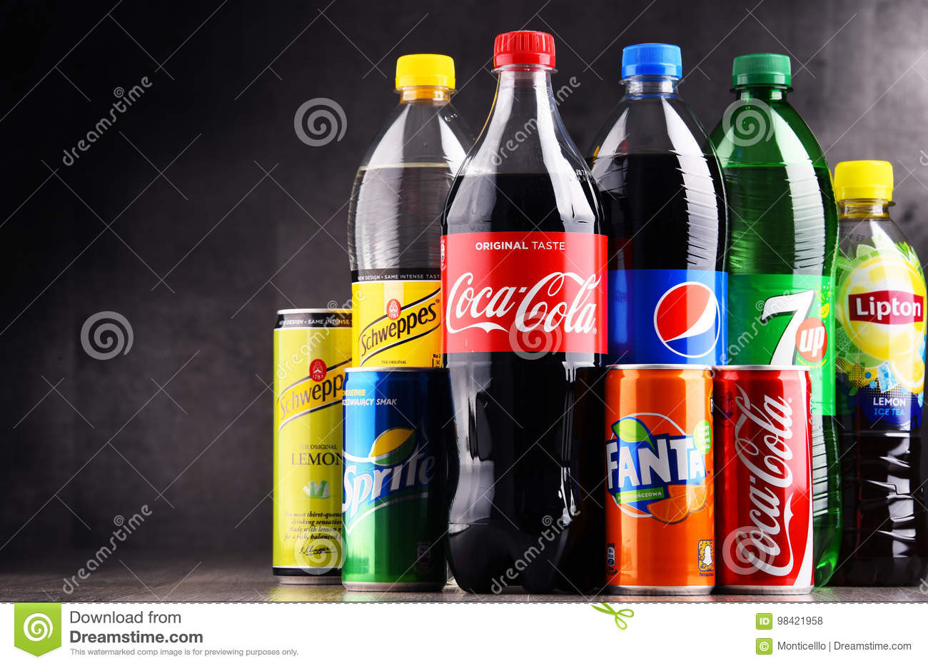 Bottles And Cans Of Assorted Global Soft Drinks Editorial