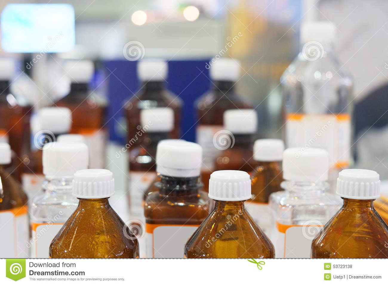 Bottles of chemicals in the laboratory