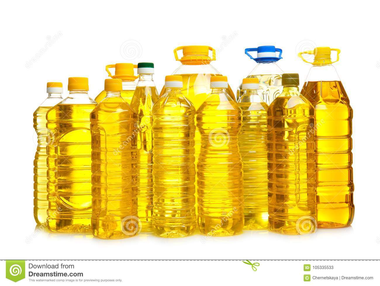 Bottles of cooking oil,