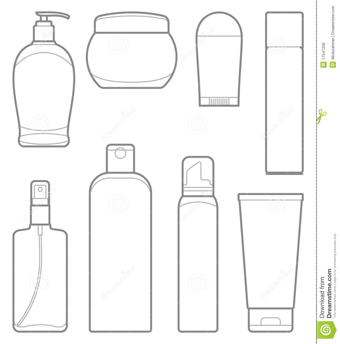 bottles of cosmetic products stock vector