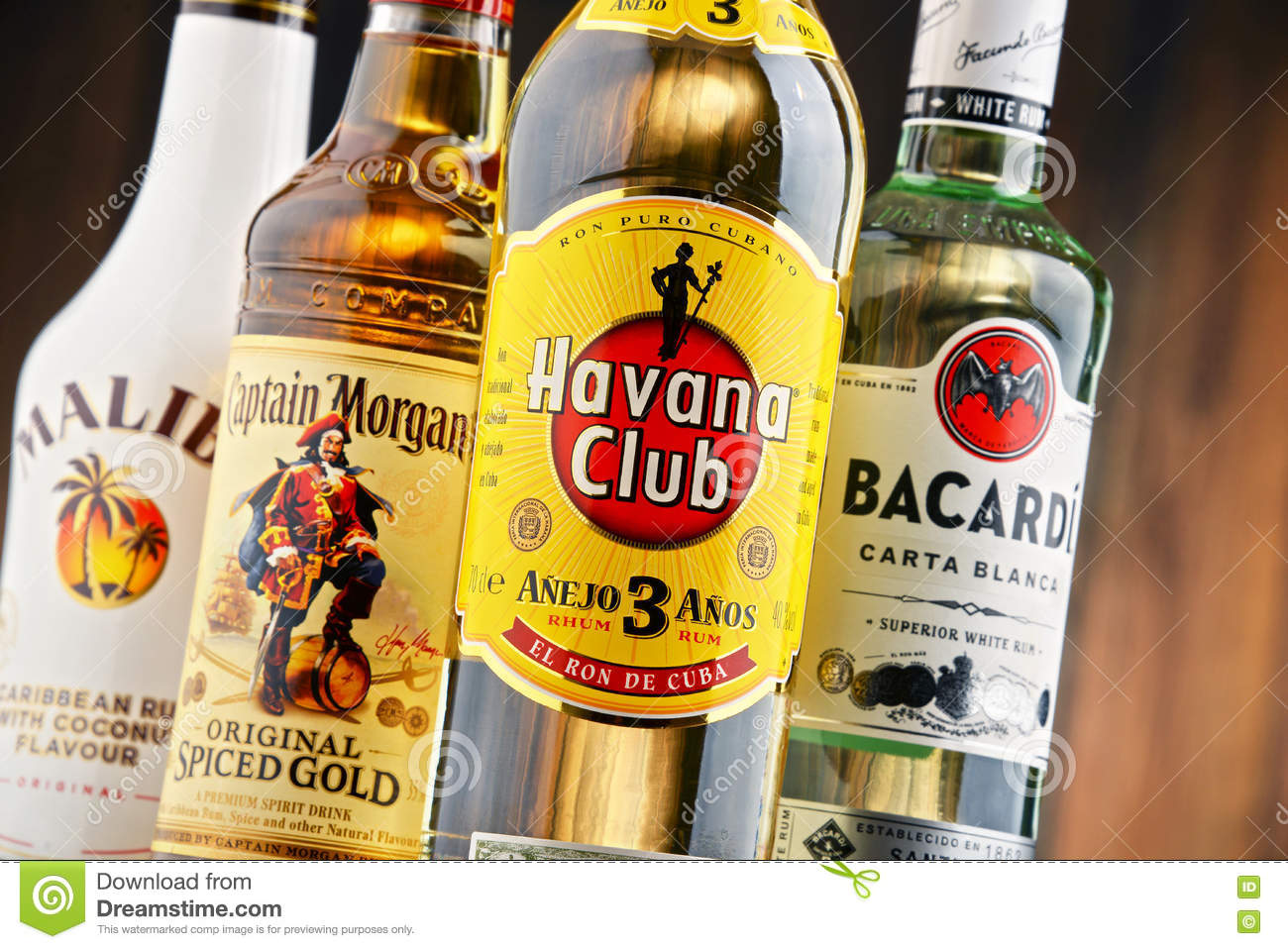 Caribbean Rum: Bottles Of Famous Global Rum Brands Editorial Image