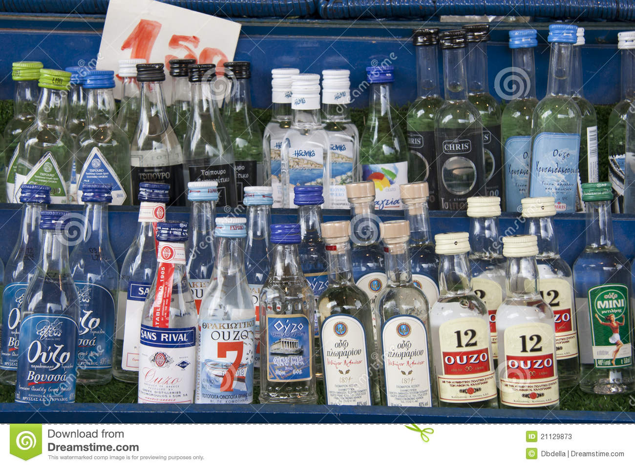 Bottles of greek Ouzo, traditional alcoholic drink