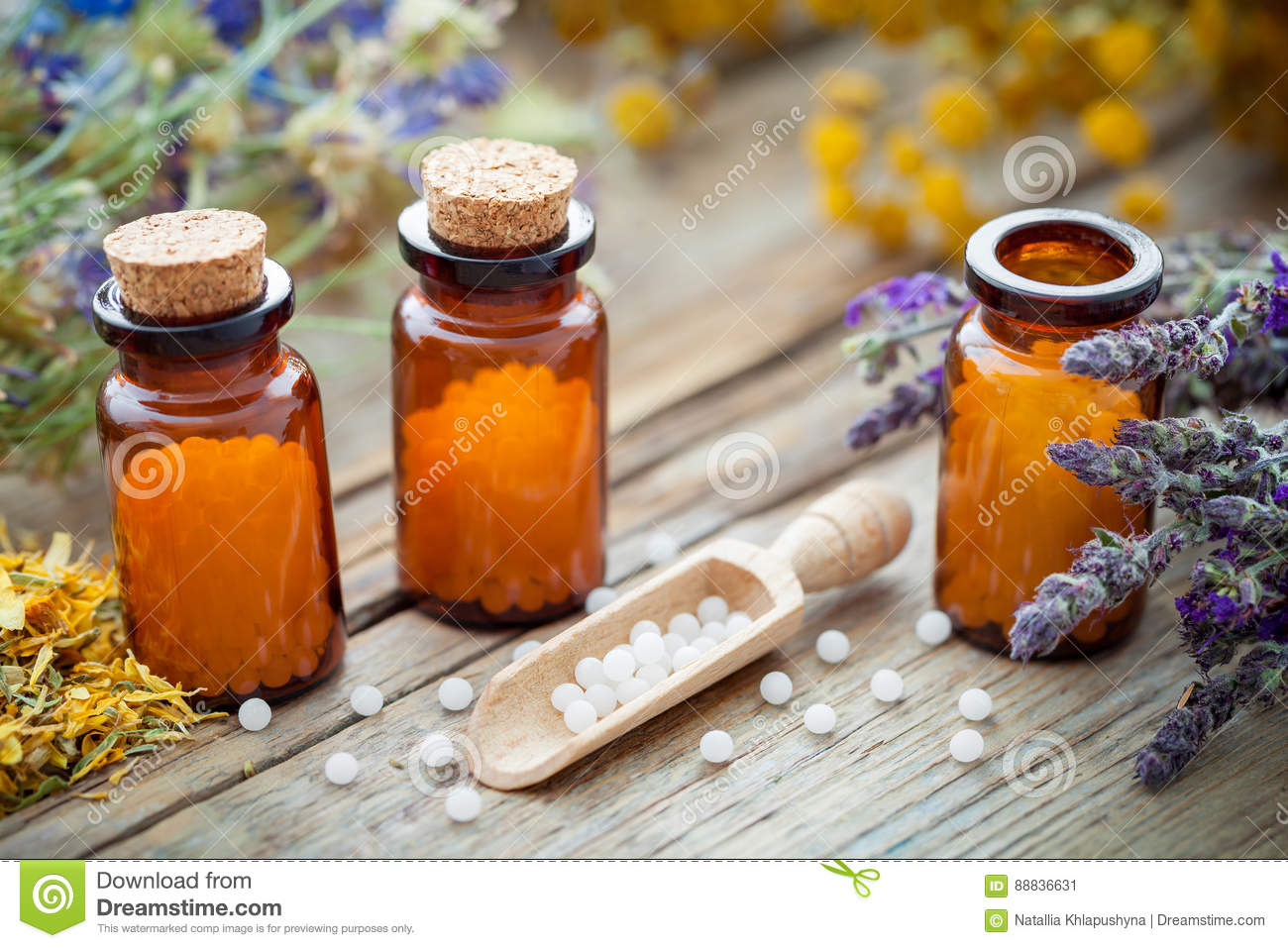 Bottles of homeopathic globules and healing herbs. Homeopathy medicine.