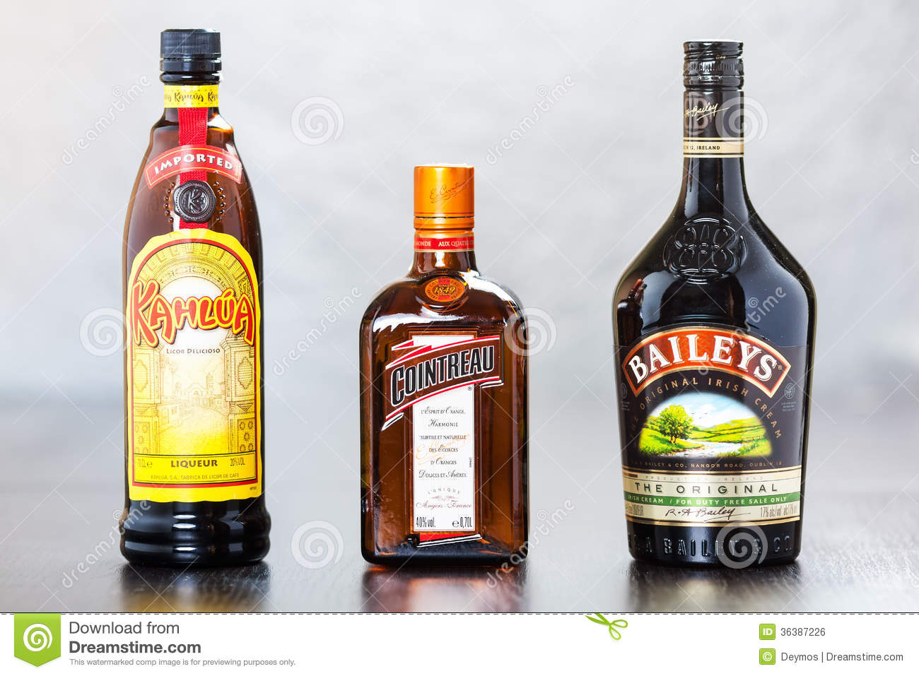 Bottles of kahlua cointreau and bailey 39 s editorial photo for Cocktail triple sec