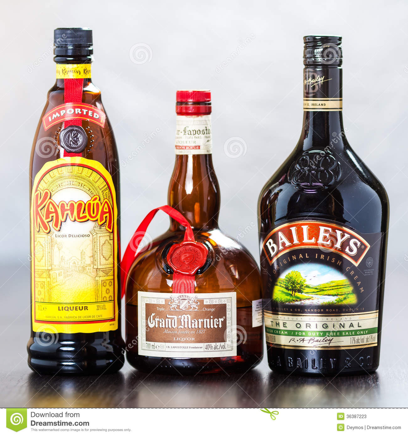 Bottles Of Kahlua, Grand Marnier And Bailey's Editorial