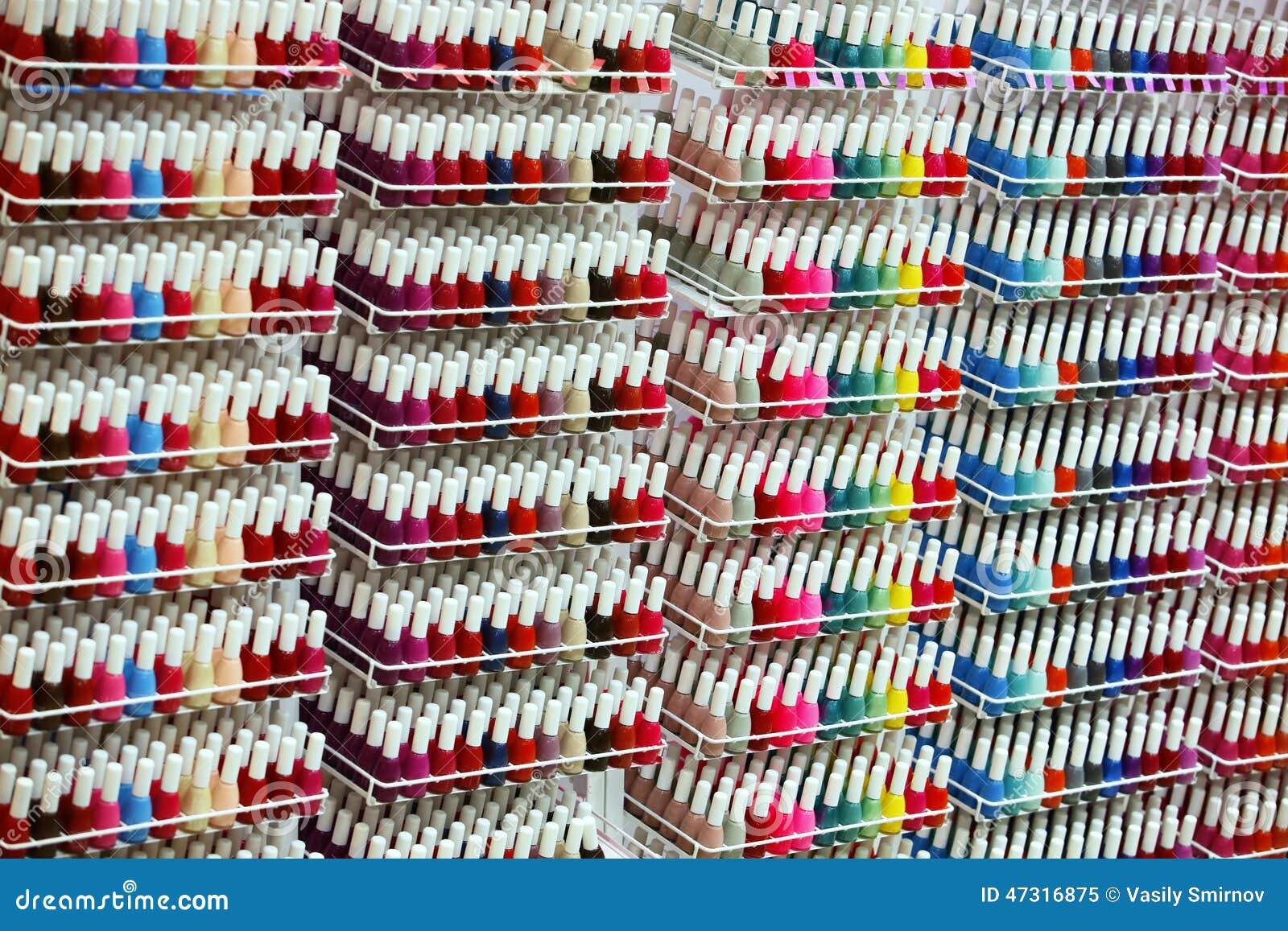 Bottles of nail Polish stock image. Image of glitter - 47316875