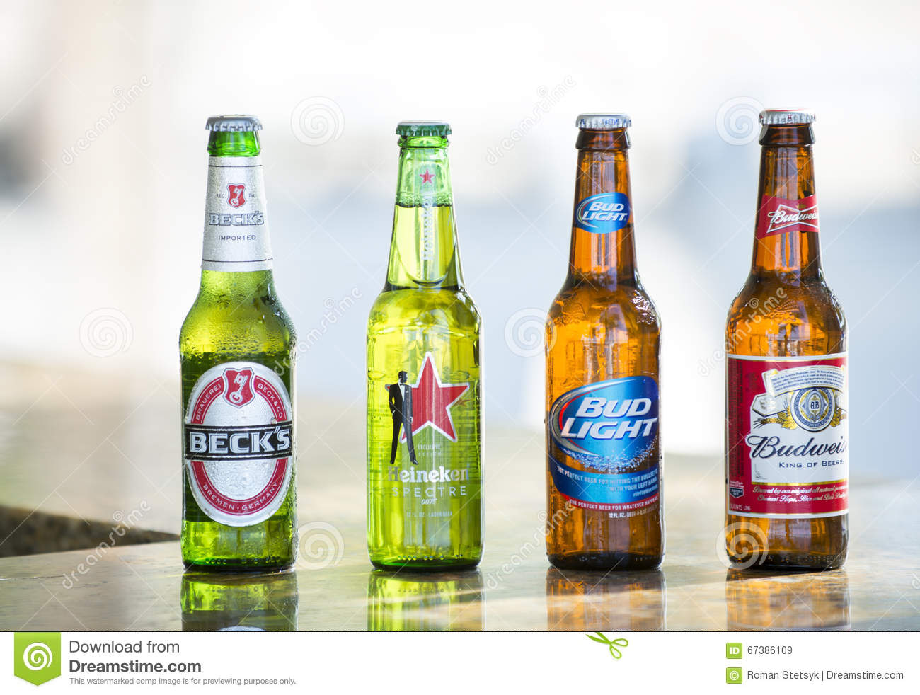 Download Bottles Of Popular Assorted Beers Editorial Stock Image   Image Of  Droplets, Brand: