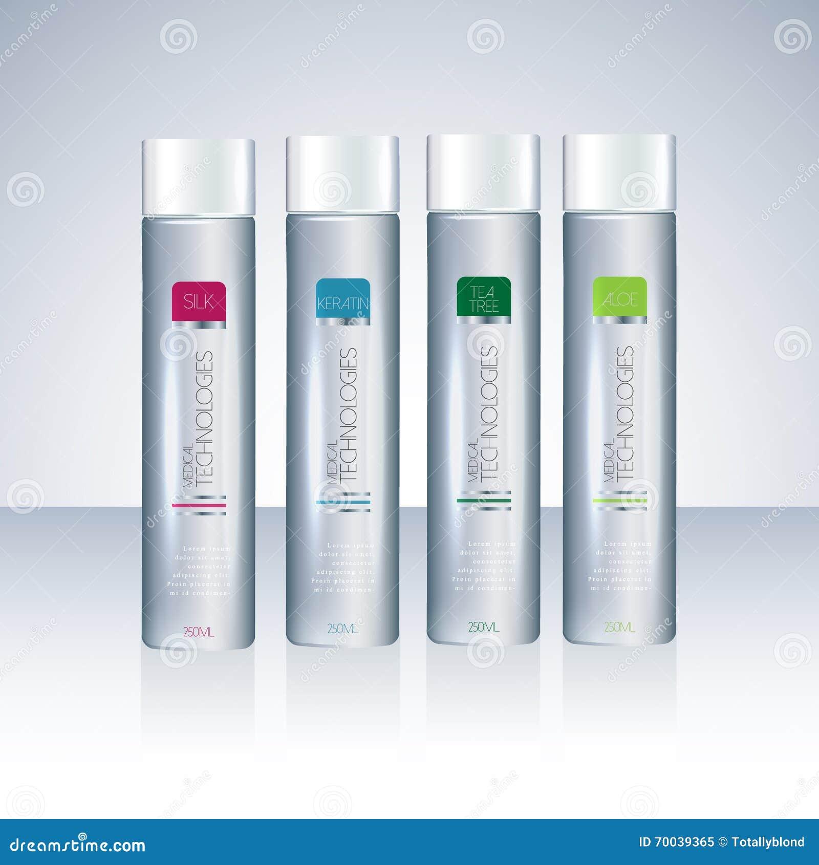 Bottles With Sample Labels For Shower Gel Or Shampoo Stock