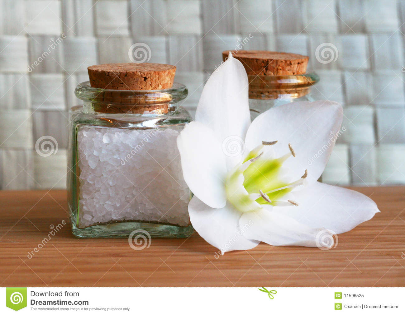 Bottles Sea Salt And Oil With White Flower Royalty Free Stock Imag