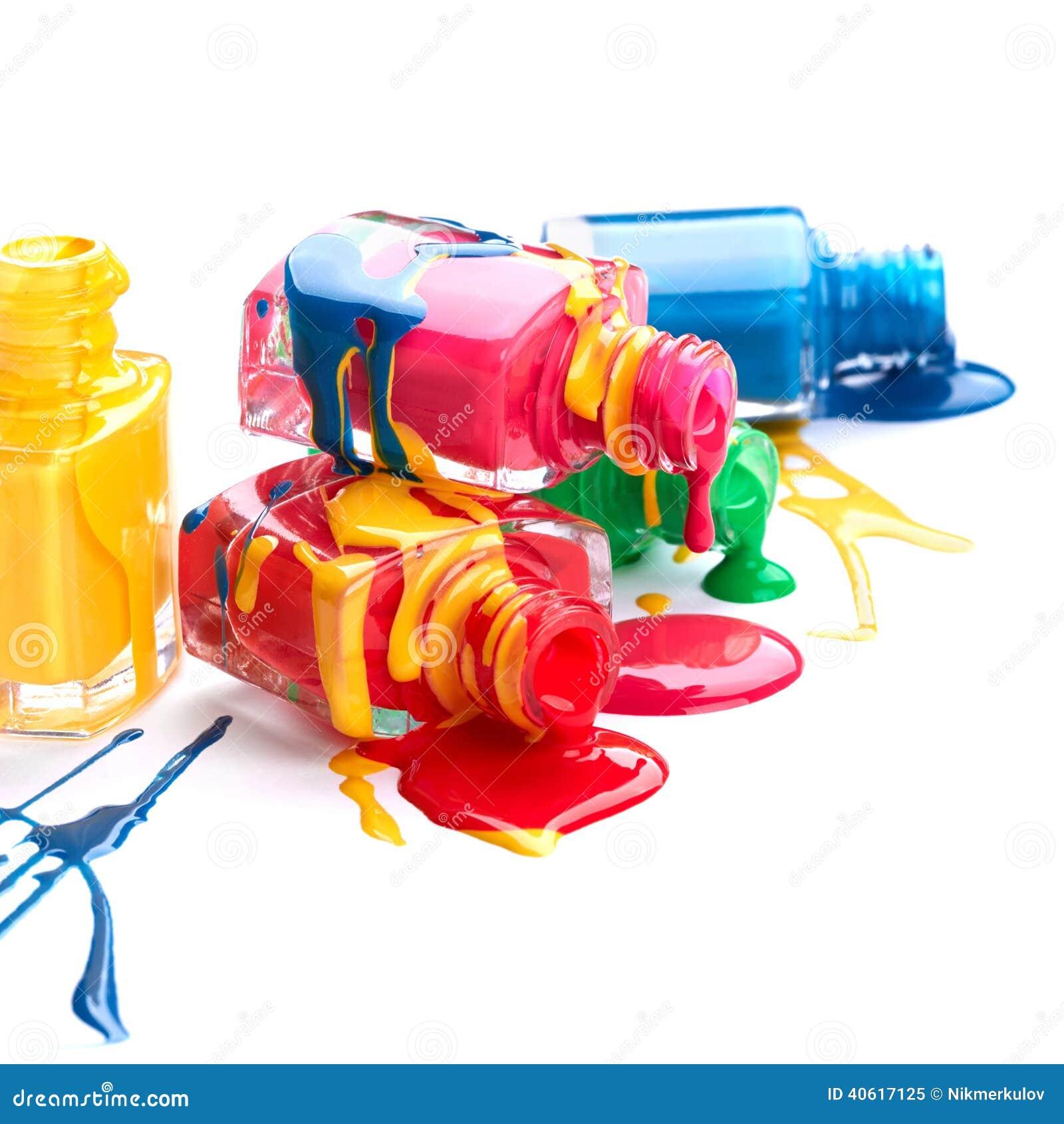 Spilled Nail Polish: Bottles With Spilled Nail Polish Stock Image