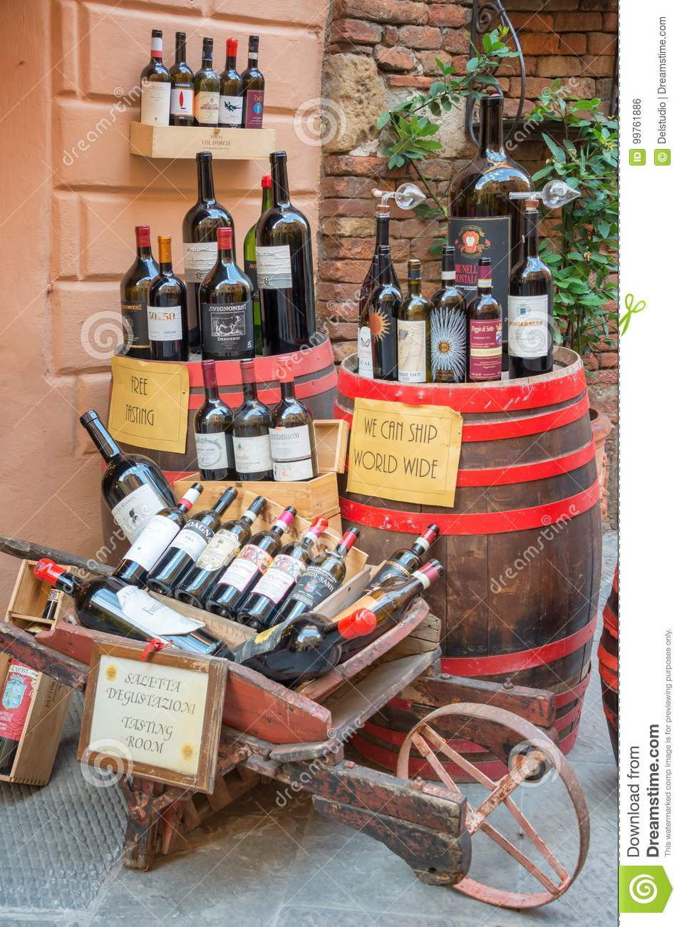 Bottles of Vino Nobile, the most famous wine from Montepulciano, on display outside a winery, on July 21, 2017, in Montpulciano,