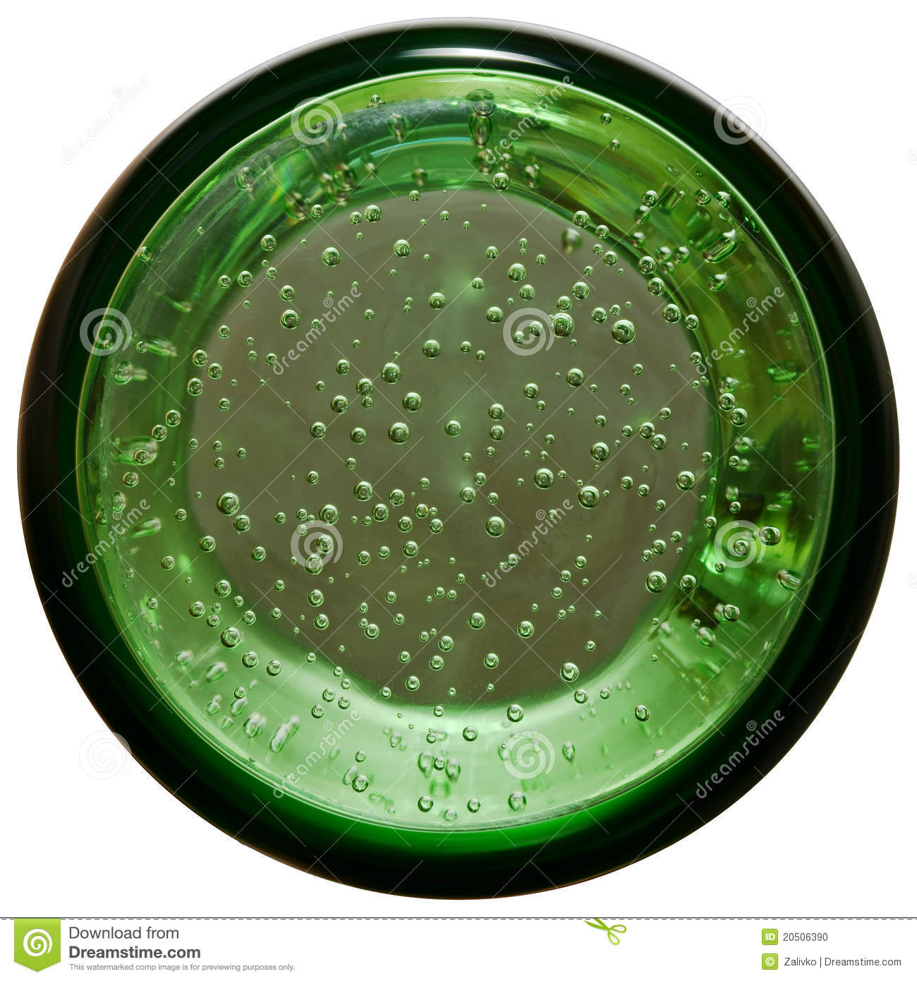 Bottom of glass with mineral water