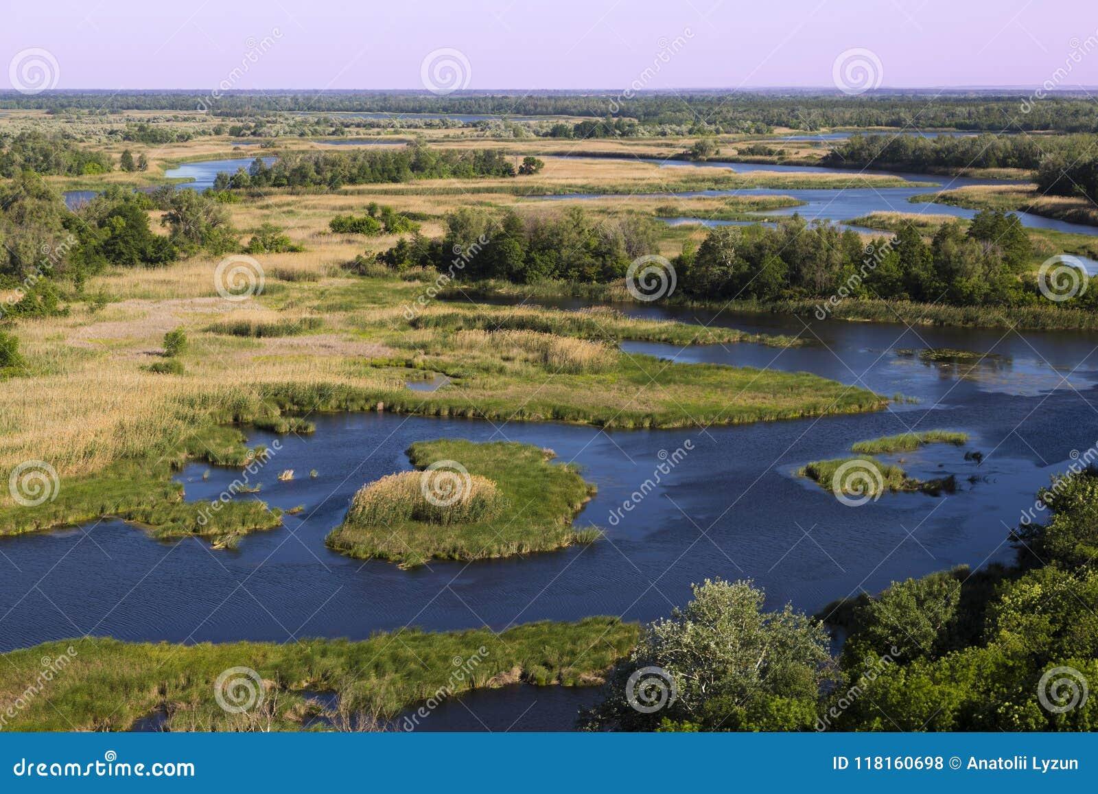 Bottom land of Vorskla river . Top view. Ukraine. Europe