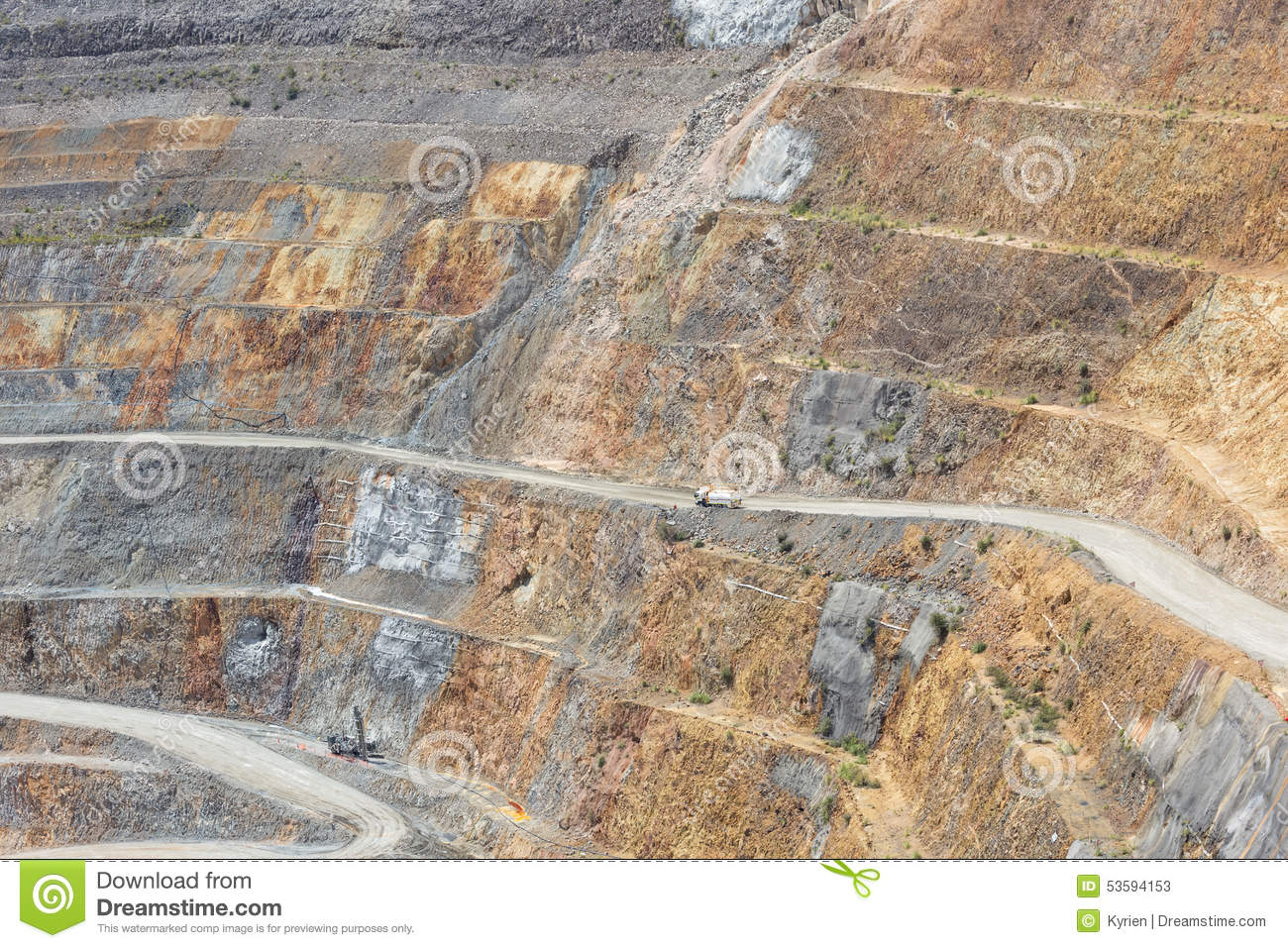Bottom Of Open Pit And Machinery Of A Gold Mine Martha In Waihi Stock Photo Image 53594153