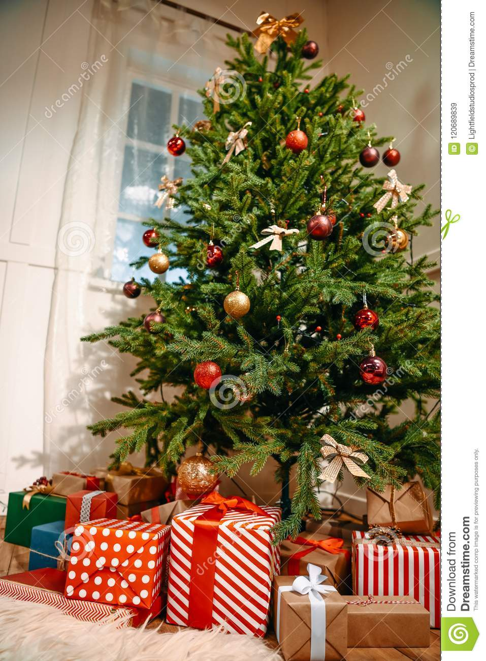 download bottom view of beautiful decorated christmas tree stock image image of presents decorated - Beautifully Decorated Christmas Tree Images