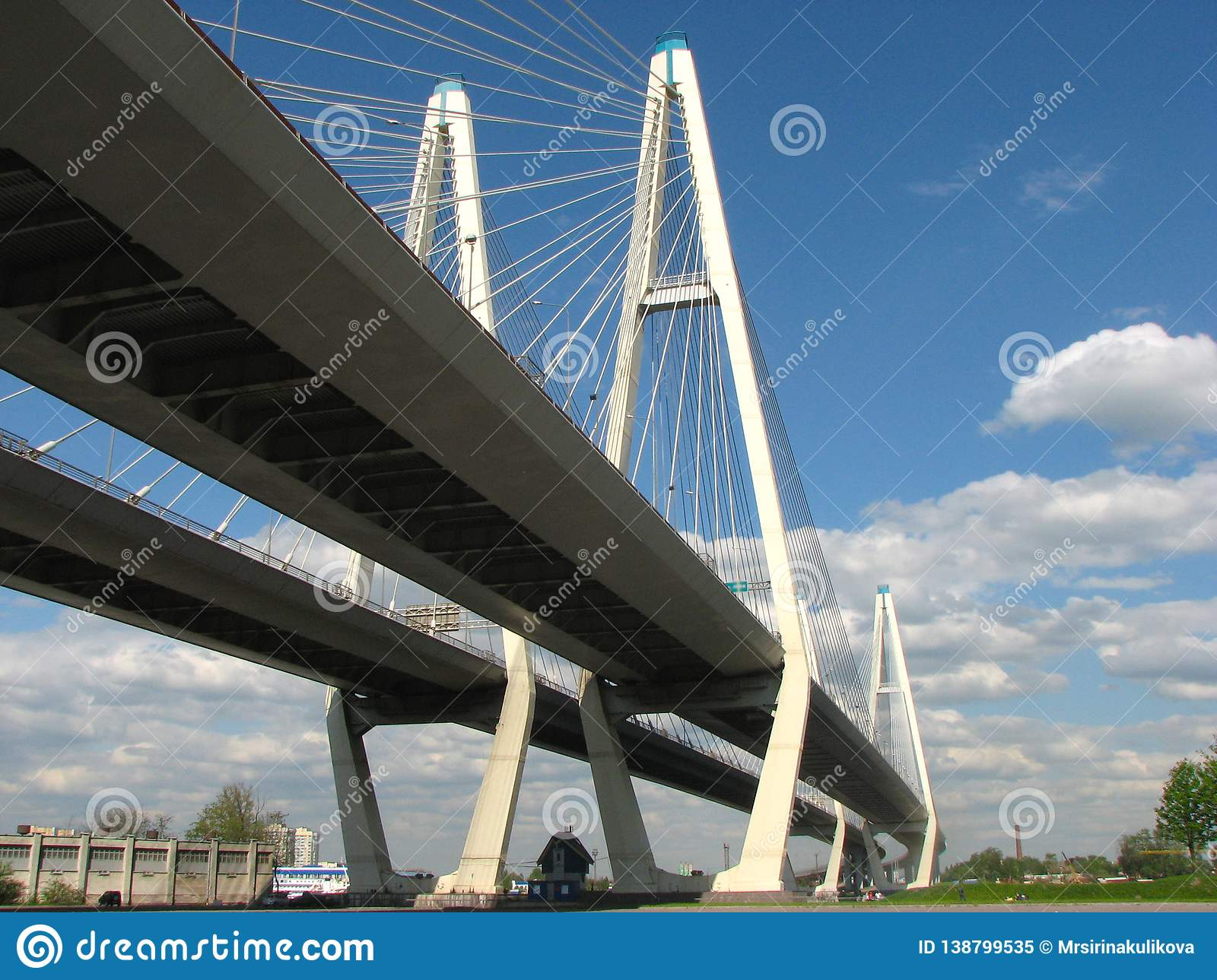 Bottom view of the Big Obukhovsky Bridge in sunny summer day in St. Petersburg, Russia