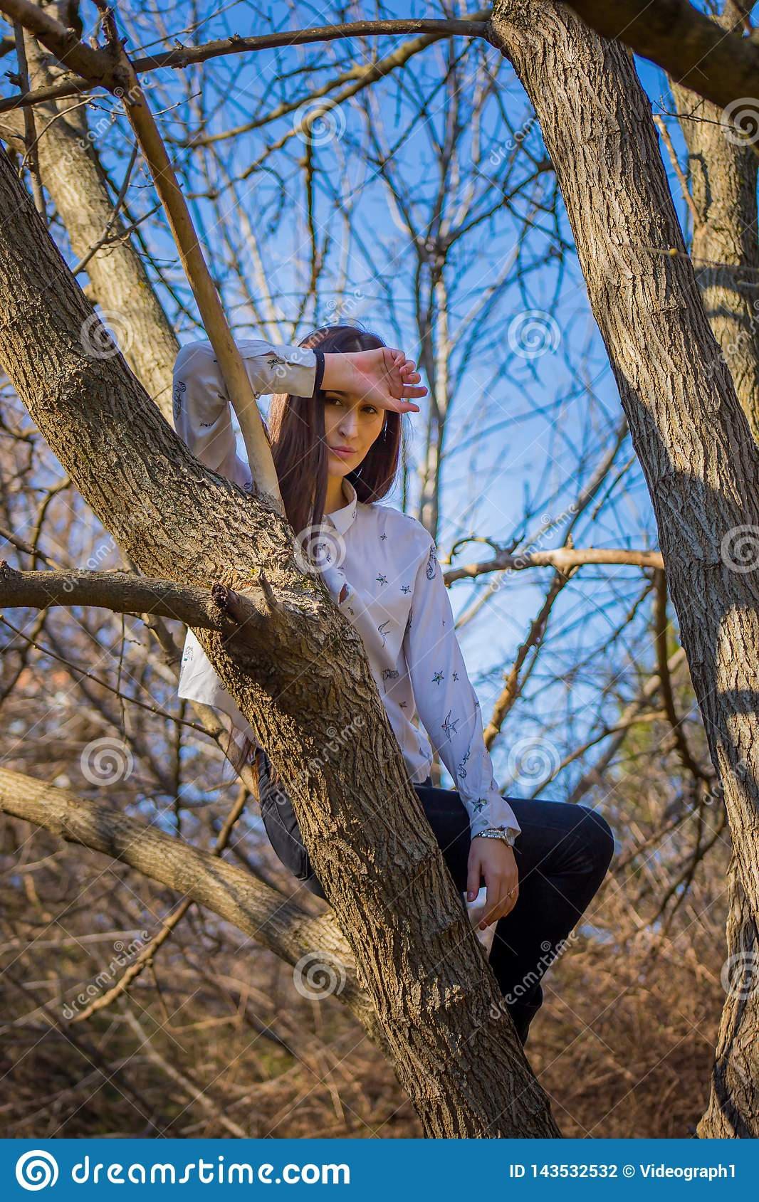 Bottom view charming cute slim girl is on top of unusual tree without leaves on background sky