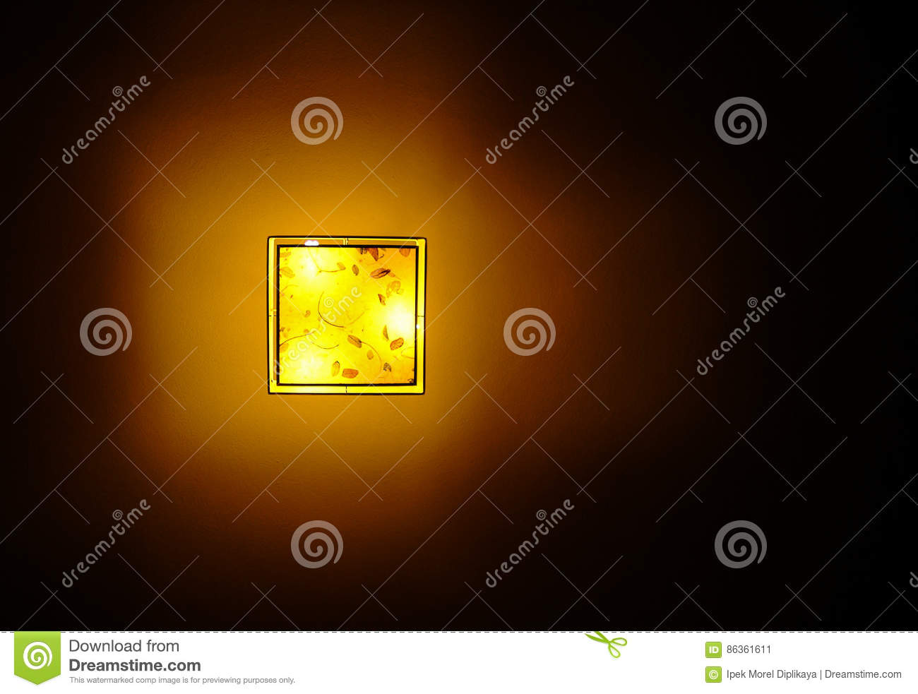 Bottom View Of Hanging Plastic Square Ceiling Lamp Stock Image