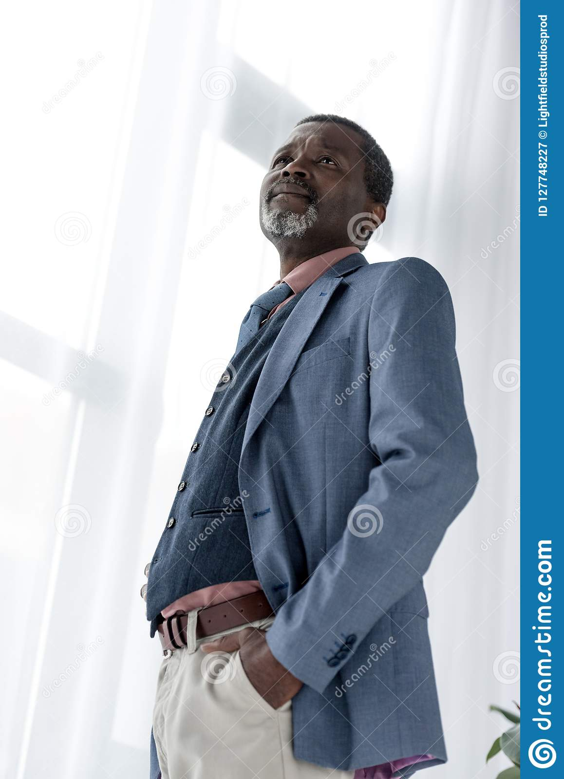 bottom view of mature african american man