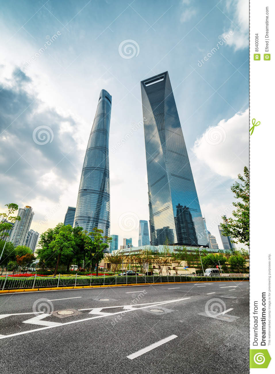 Bottom view of the Shanghai World Financial Center SWFC, China