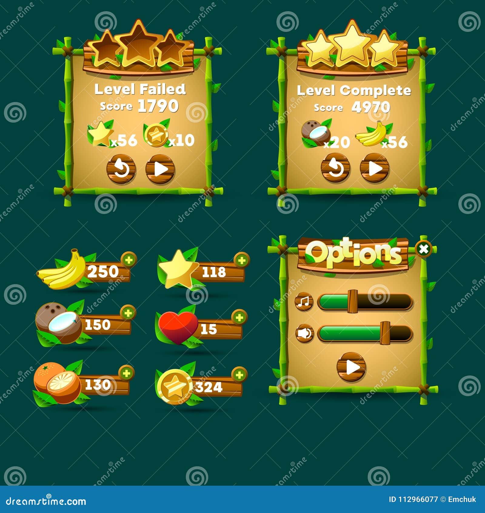 Bottoni dell interfaccia del gioco, indicatore di stato, icona delle risorse