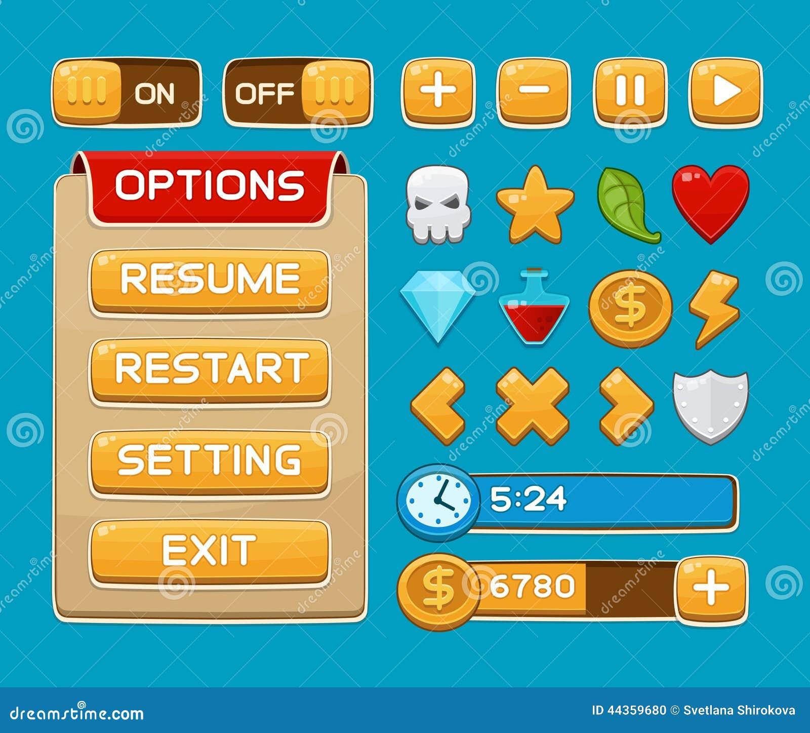 Bottoni dell interfaccia messi per i giochi o i apps