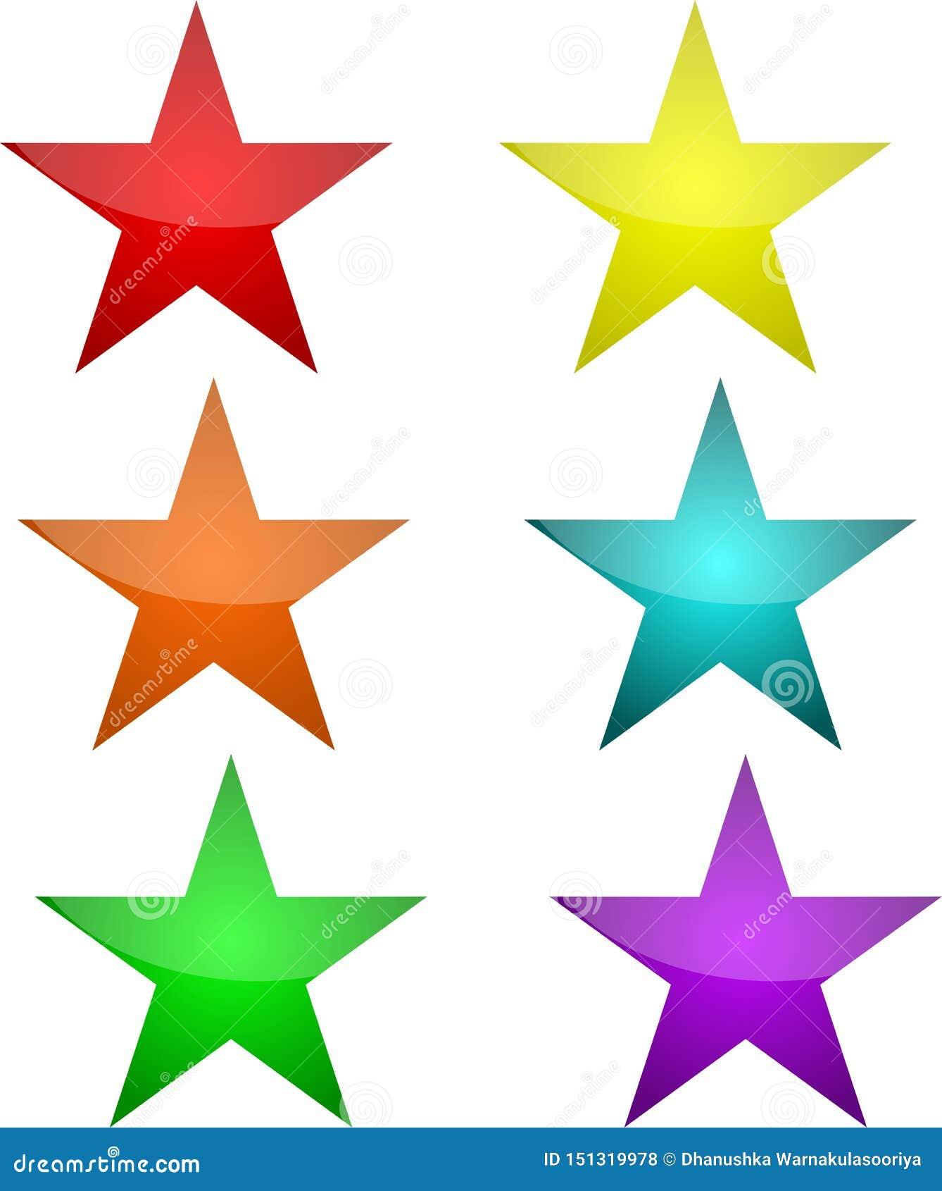 Bottoni della stella in sei colori