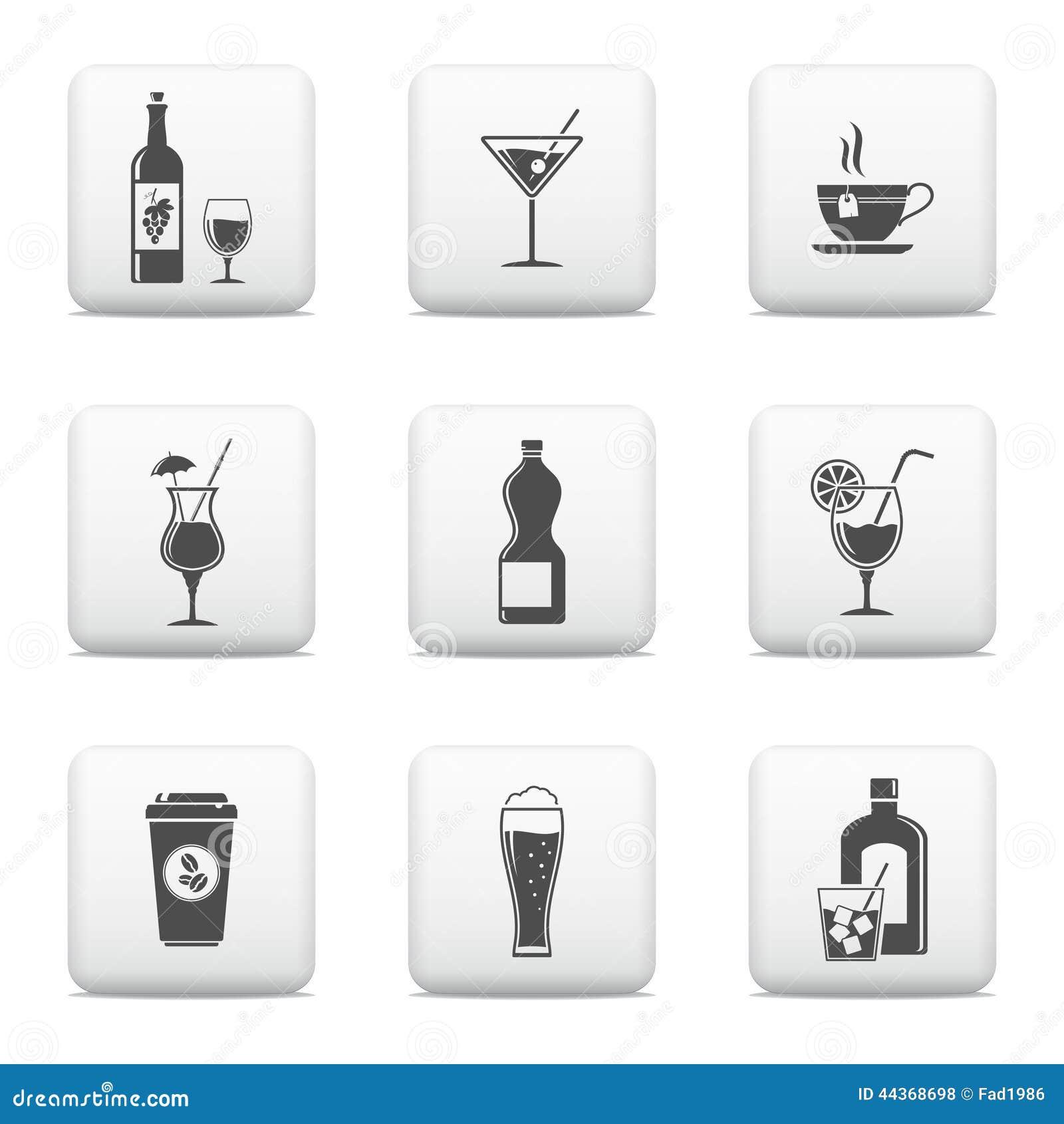 Bottoni di web della bevanda messi