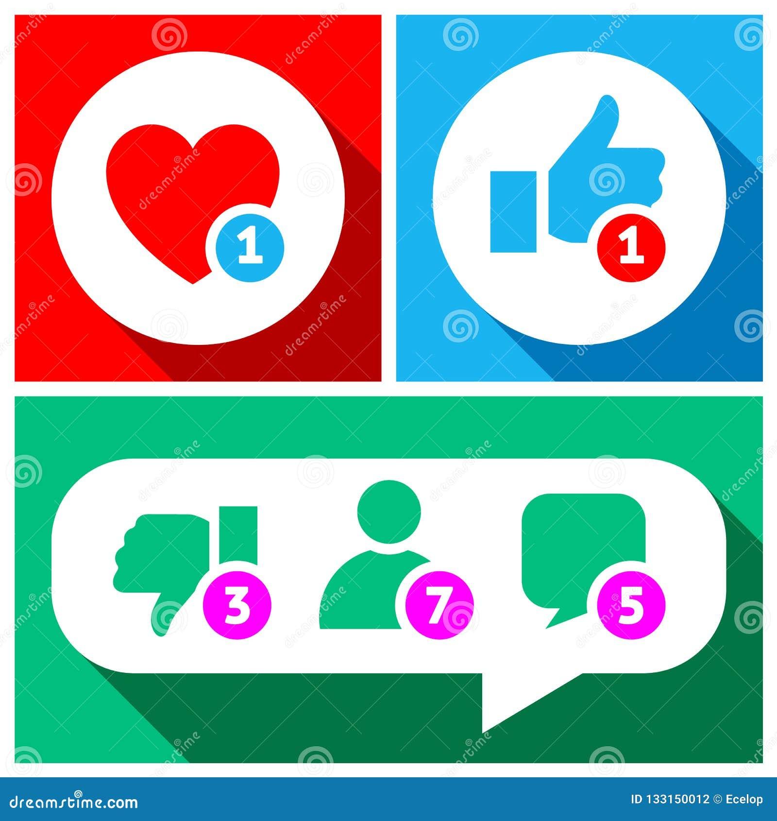 Bottoni semplici con reazioni dell utenza per rete sociale