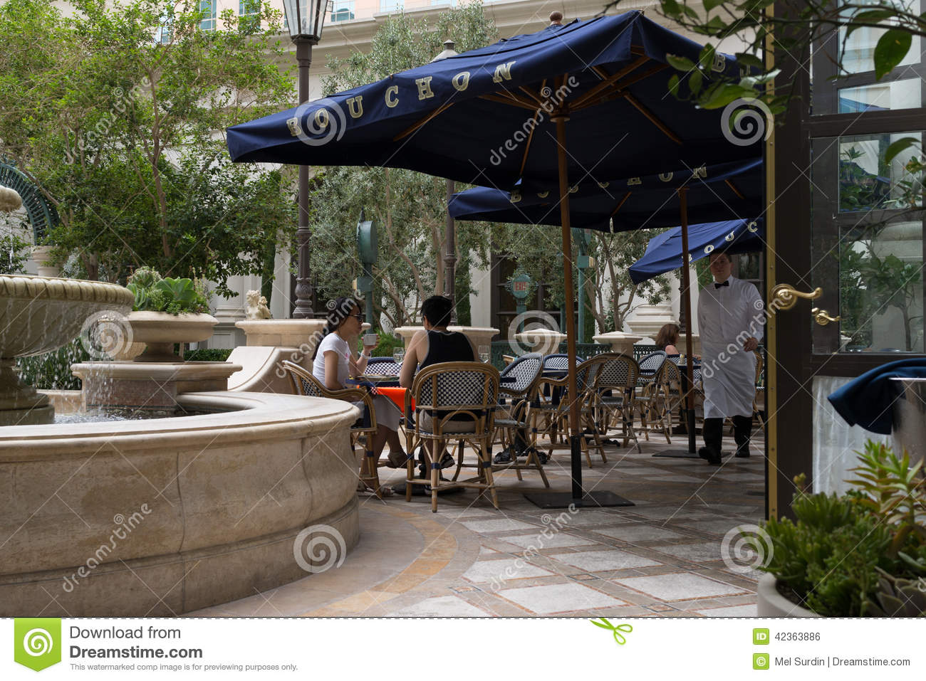 Outdoor Garden With Blue Patio Cover Bouchon Restaurant, Venetian Hotel, Las  Vegas, Nevada.