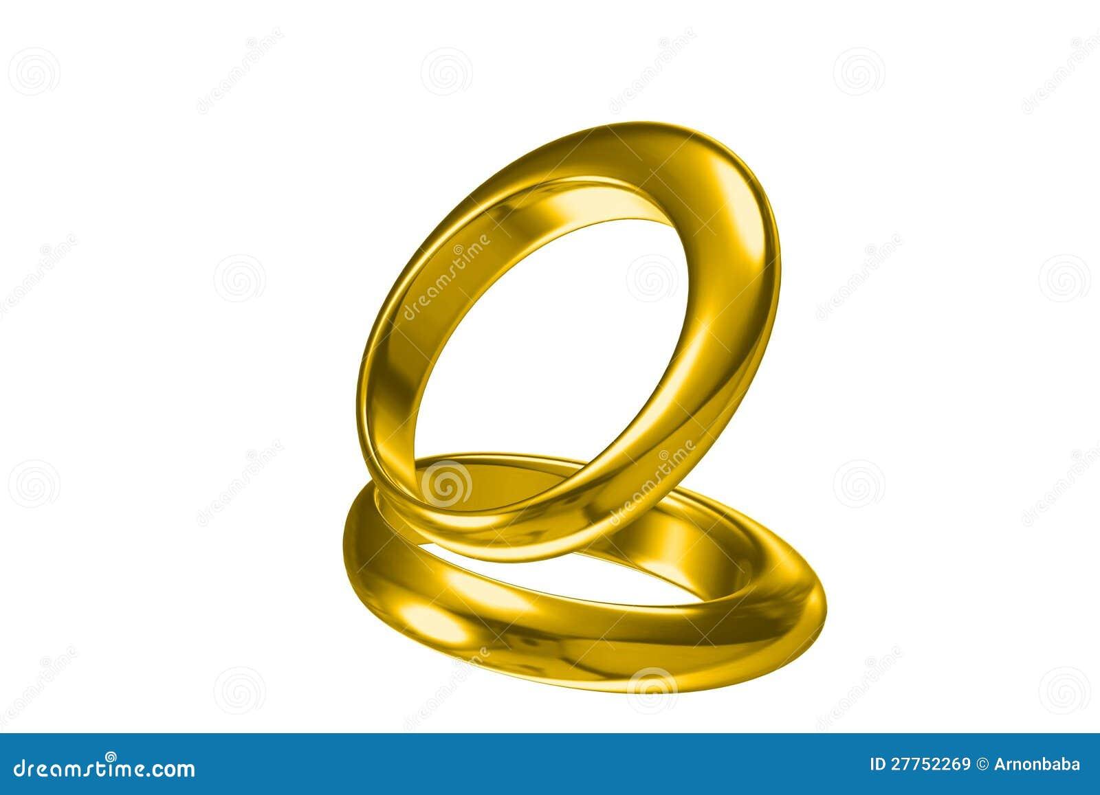 Boucle de mariage de l or 3d