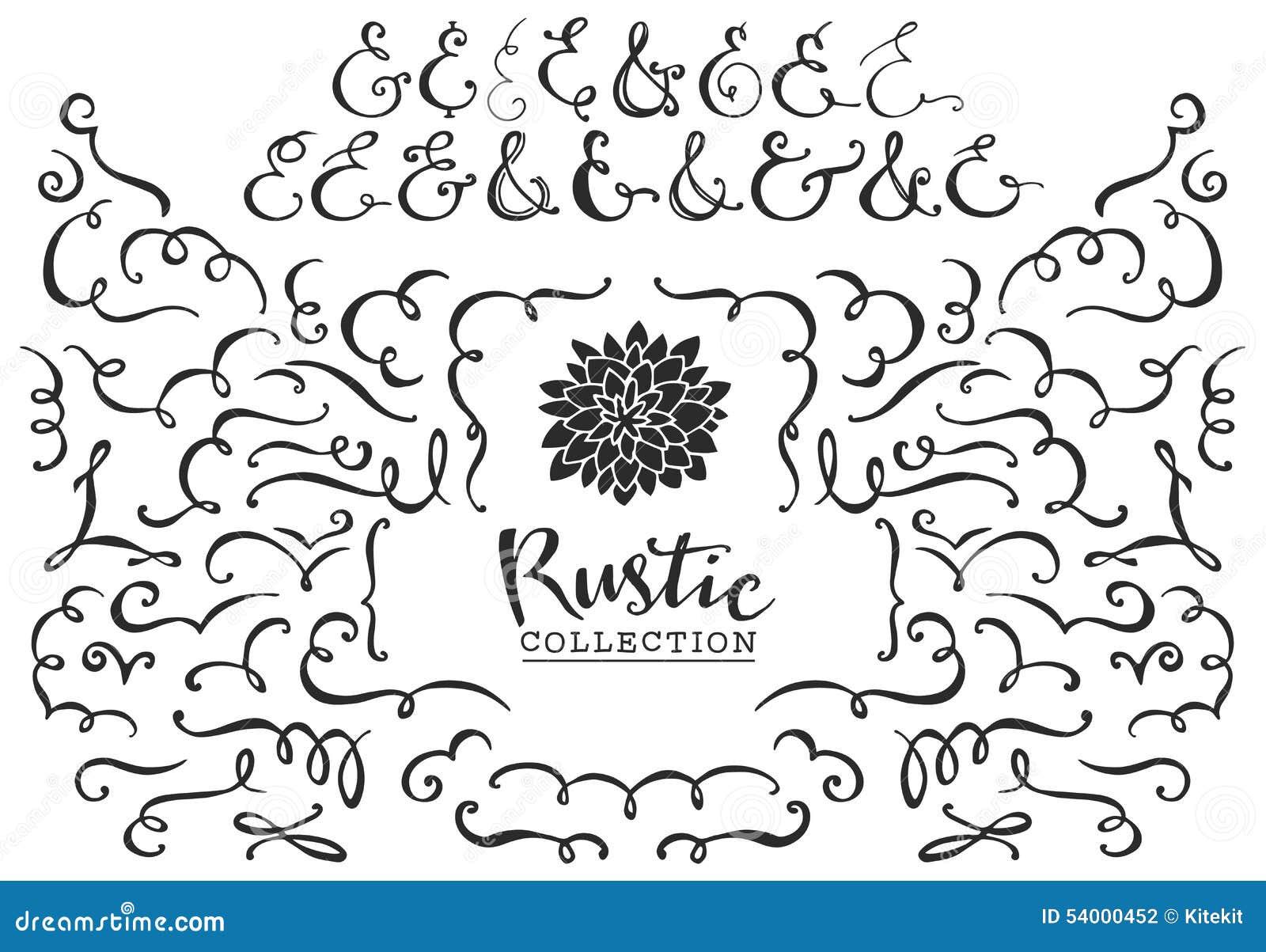 Boucles décoratives rustiques, remous et collection d esperluètes