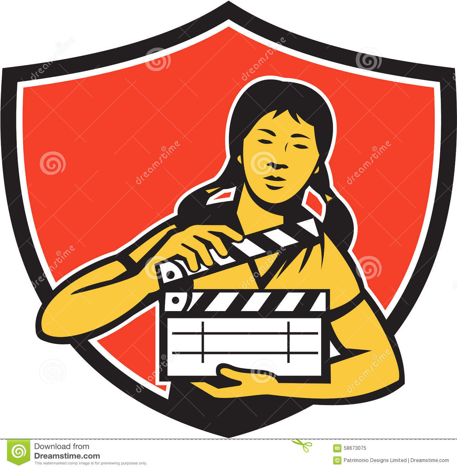 Bouclier asiatique de clapet de film de femme rétro