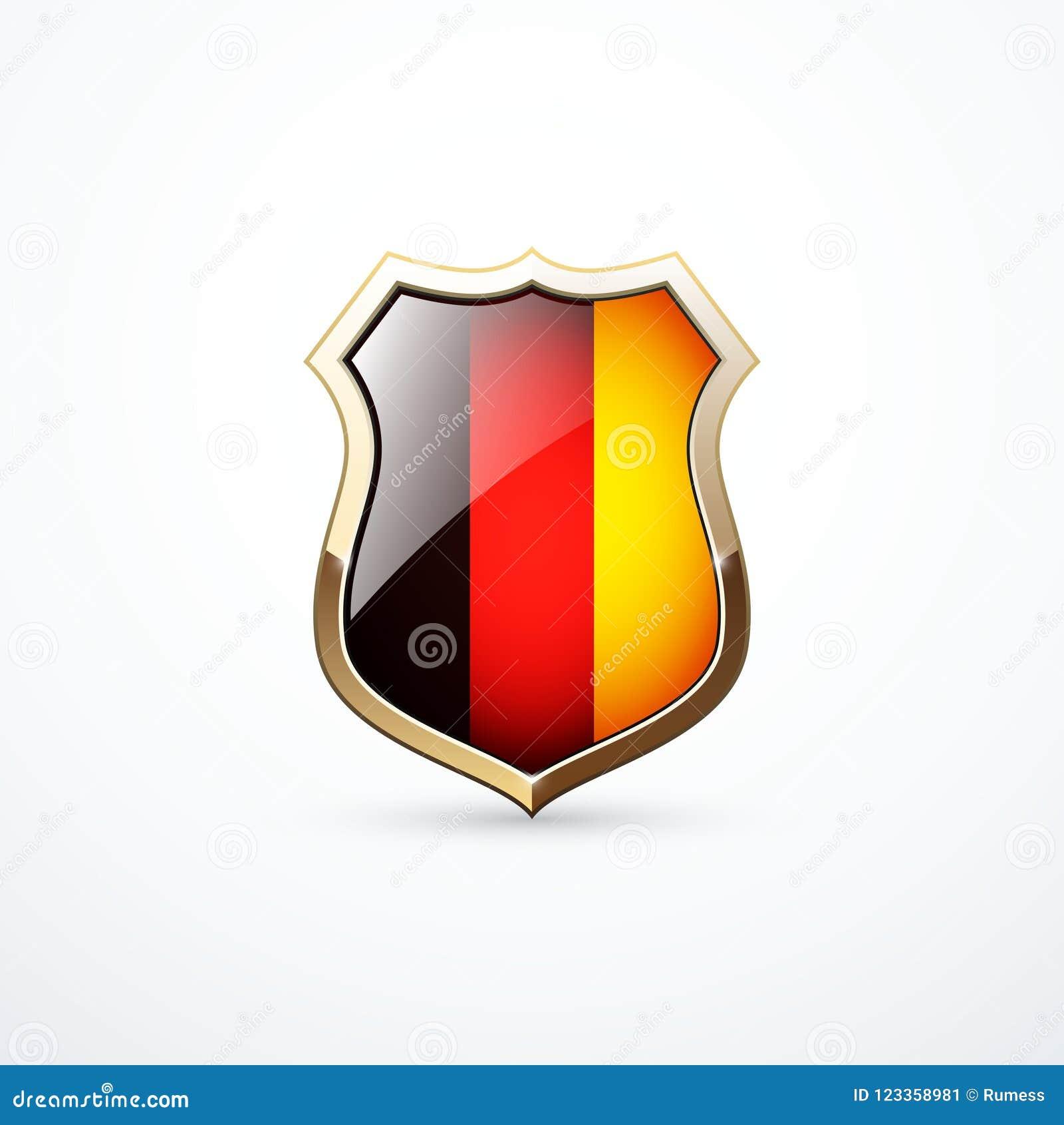 Bouclier d or avec les éléments allemands de drapeau Icône allemande de bouclier Illustration de vecteur