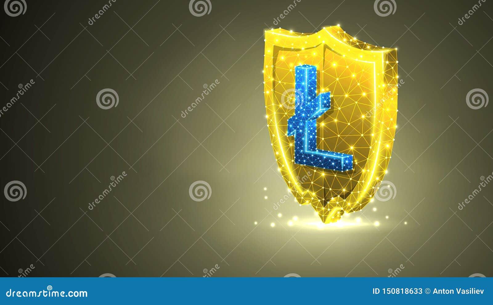 Bouclier d or de sécurité, signe de cryptocurrency de Litecoin Sécurité polygonale d affaires, concept de protection d argent Rés