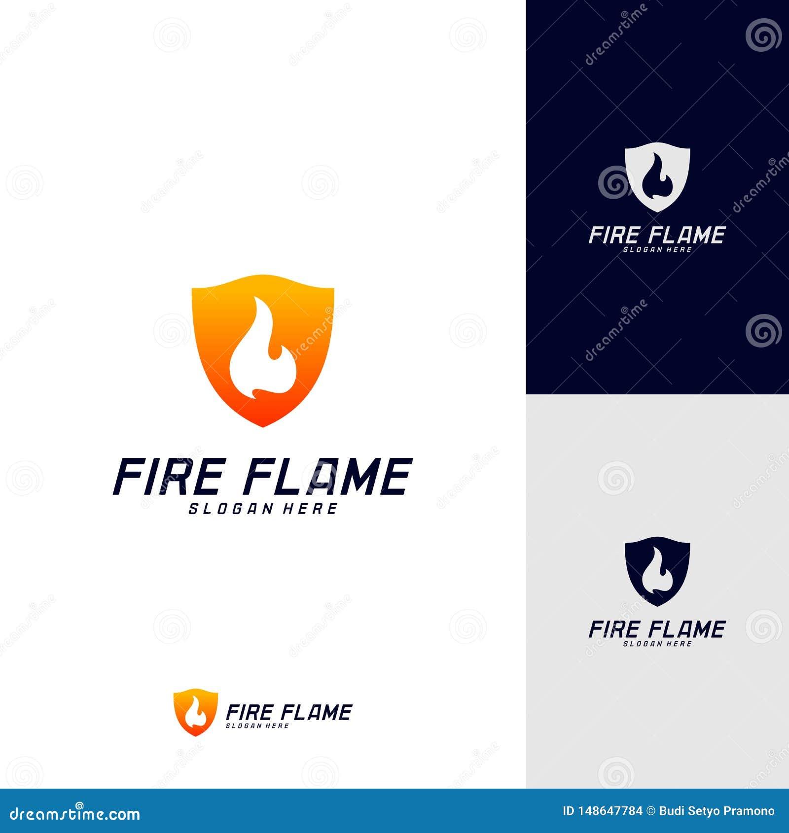 Bouclier Logo Design Vector Template du feu Le feu Logo Concept de bouclier Symbole d ic?ne