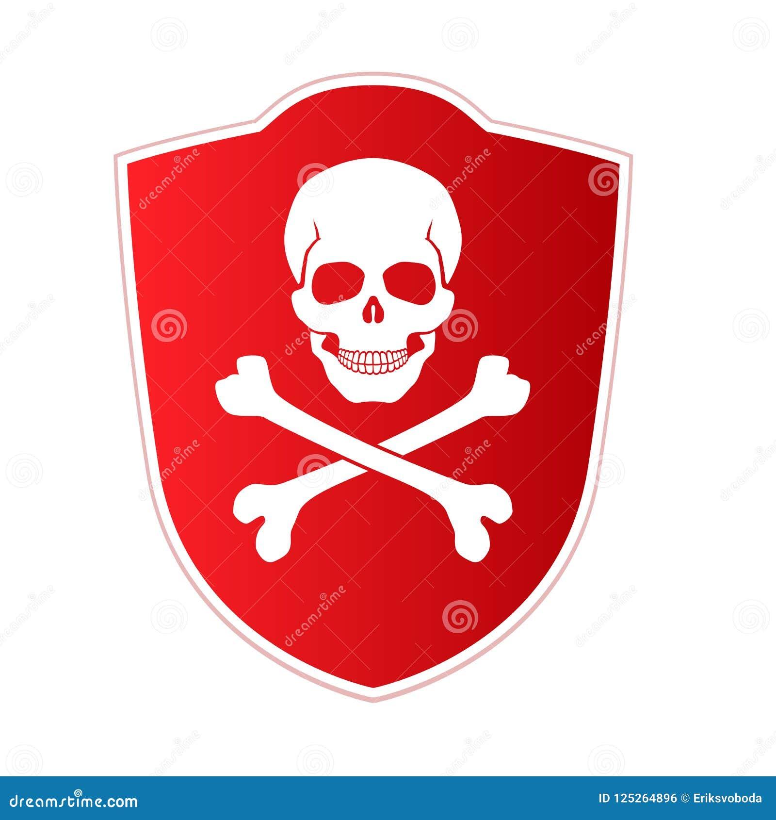 Bouclier rouge avec l emblème de la mort et du danger Crâne et os croisés sur le fond rouge Icône de vecteur, illustration