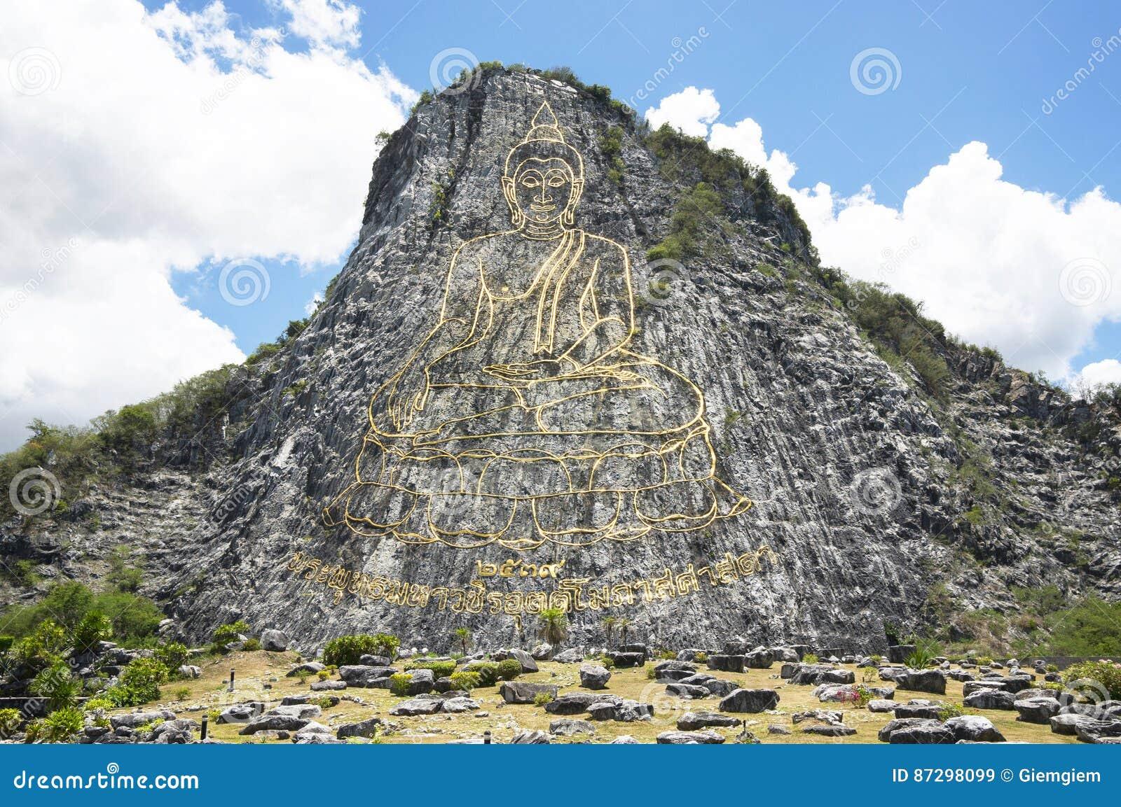 Bouddha a découpé sur le laser puissant de falaise, les attractions principales de Pattaya