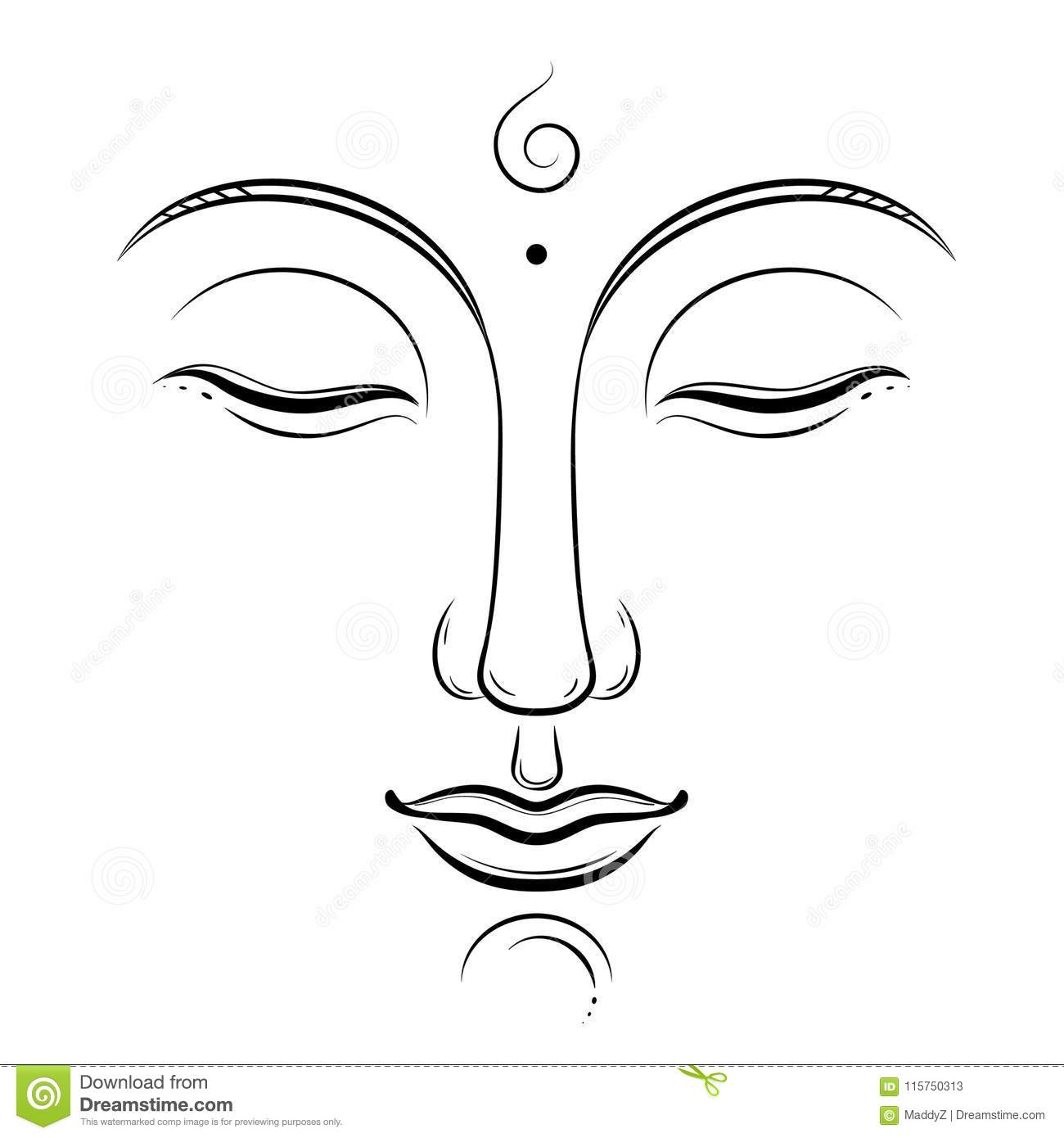 Bouddha Font Face à L Art De Vecteur Bouddhisme Yoga Chant