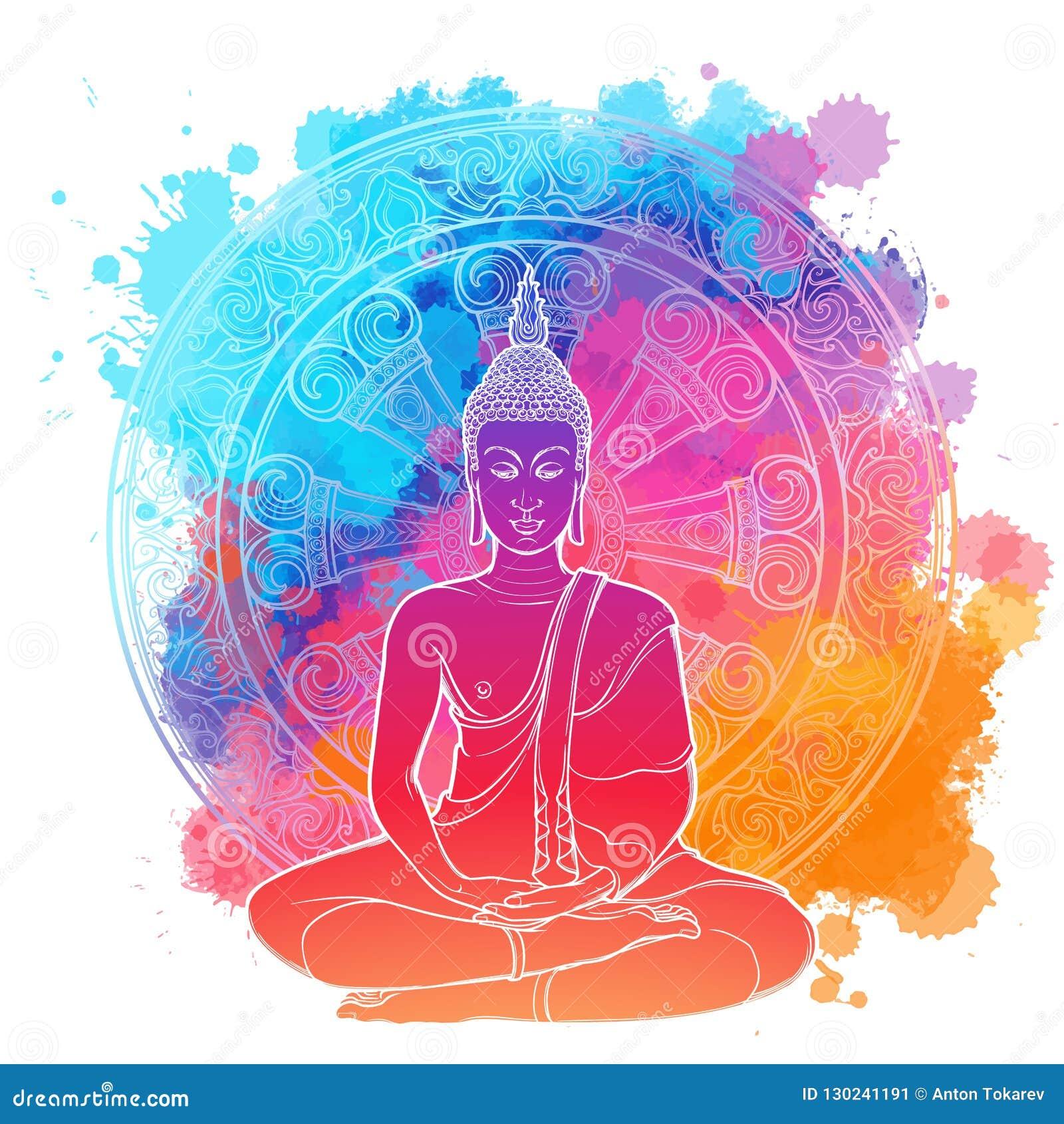 Bouddha Méditant En Position De Lotus Simple Dessin Linéaire