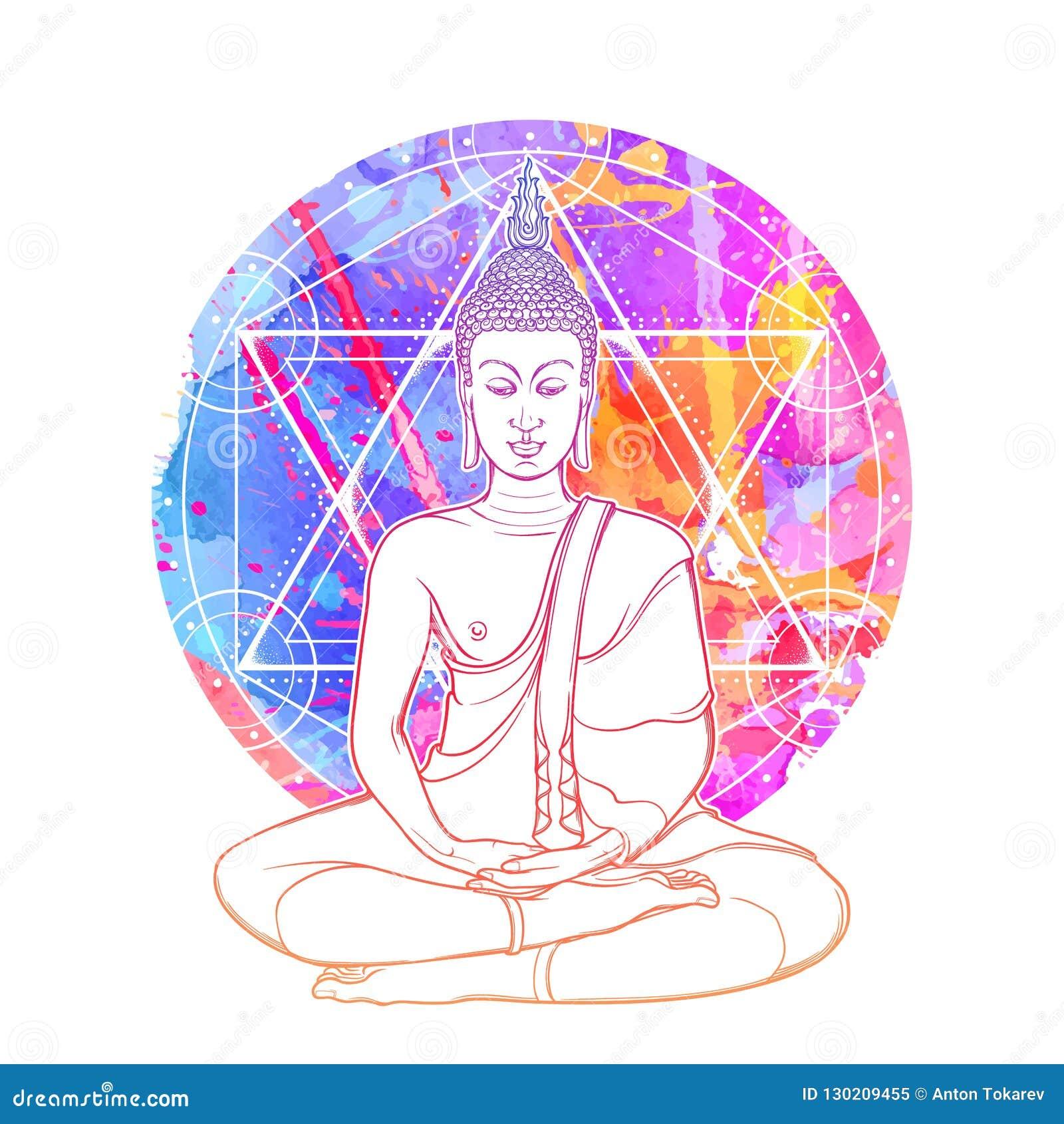 Bouddha méditant en position de lotus simple Hexagram représentant le chakra d anahata dans le yoga sur un fond