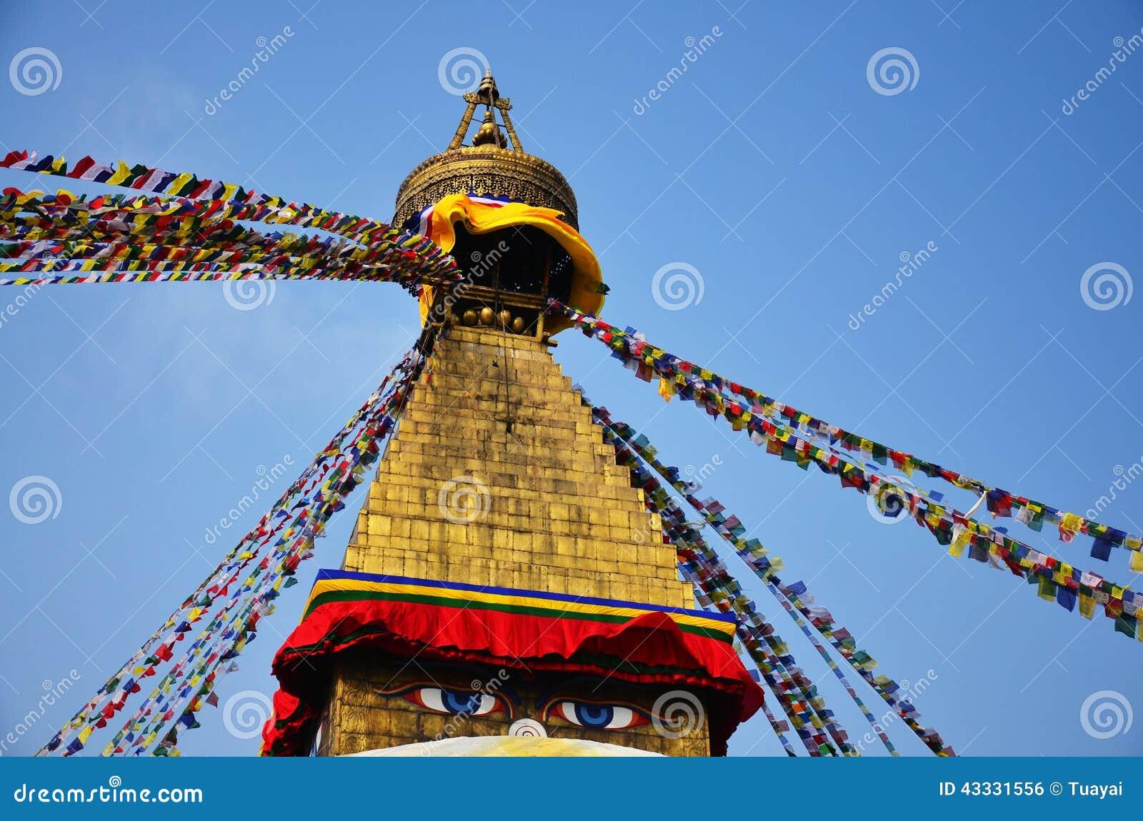 Boudhanath eller Bodnath Stupa med Buddha synar, eller vishet synar