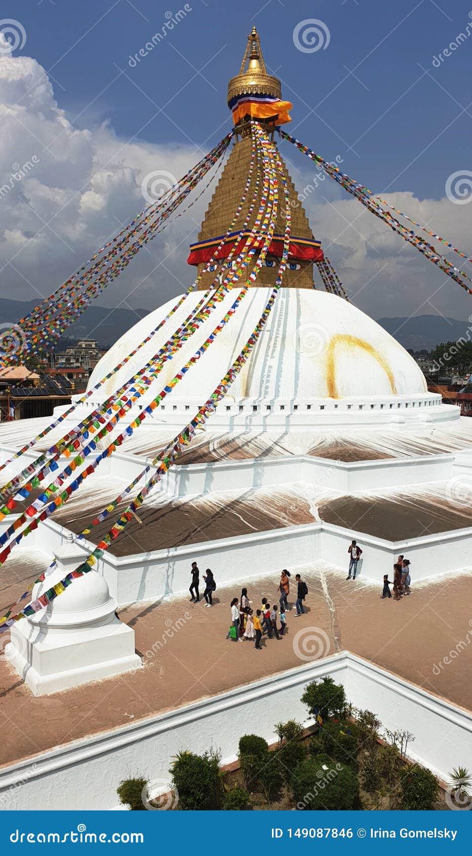 Boudhanath Stupa i Katmandu, huvudstaden av Nepal