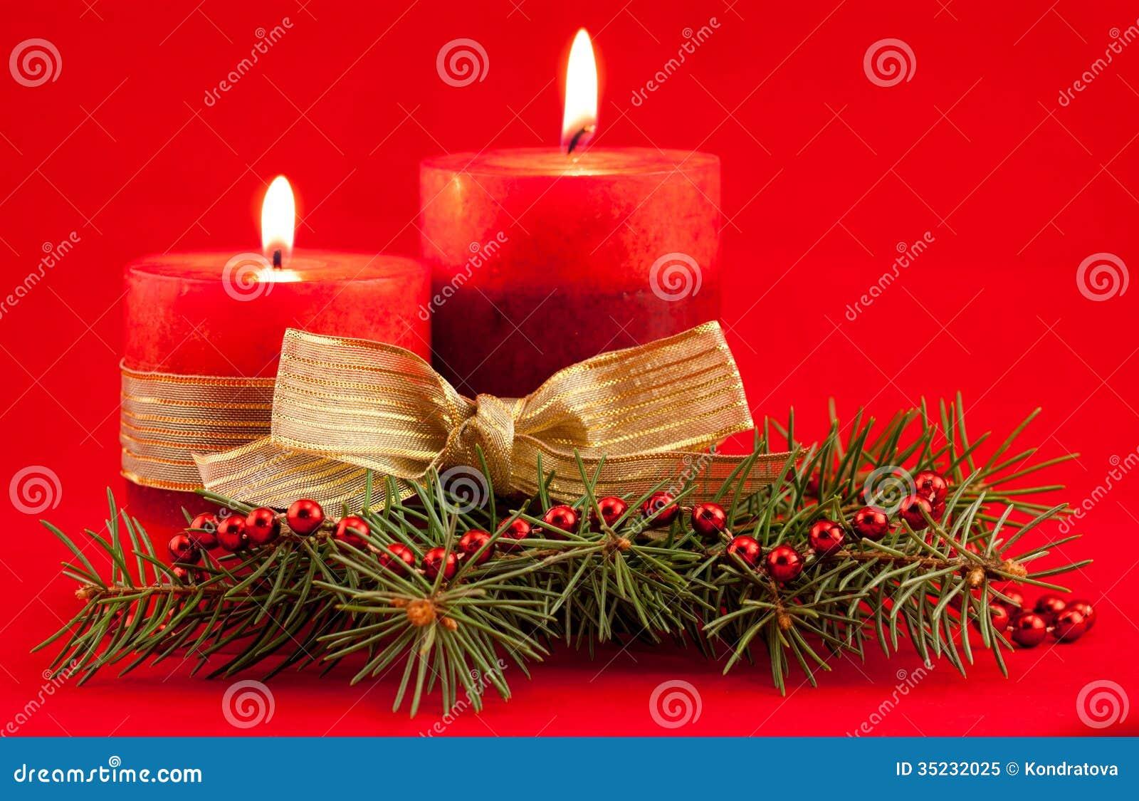 Bougie rouge avec l 39 arbre de no l photo libre de droits - Bougie de noel ...