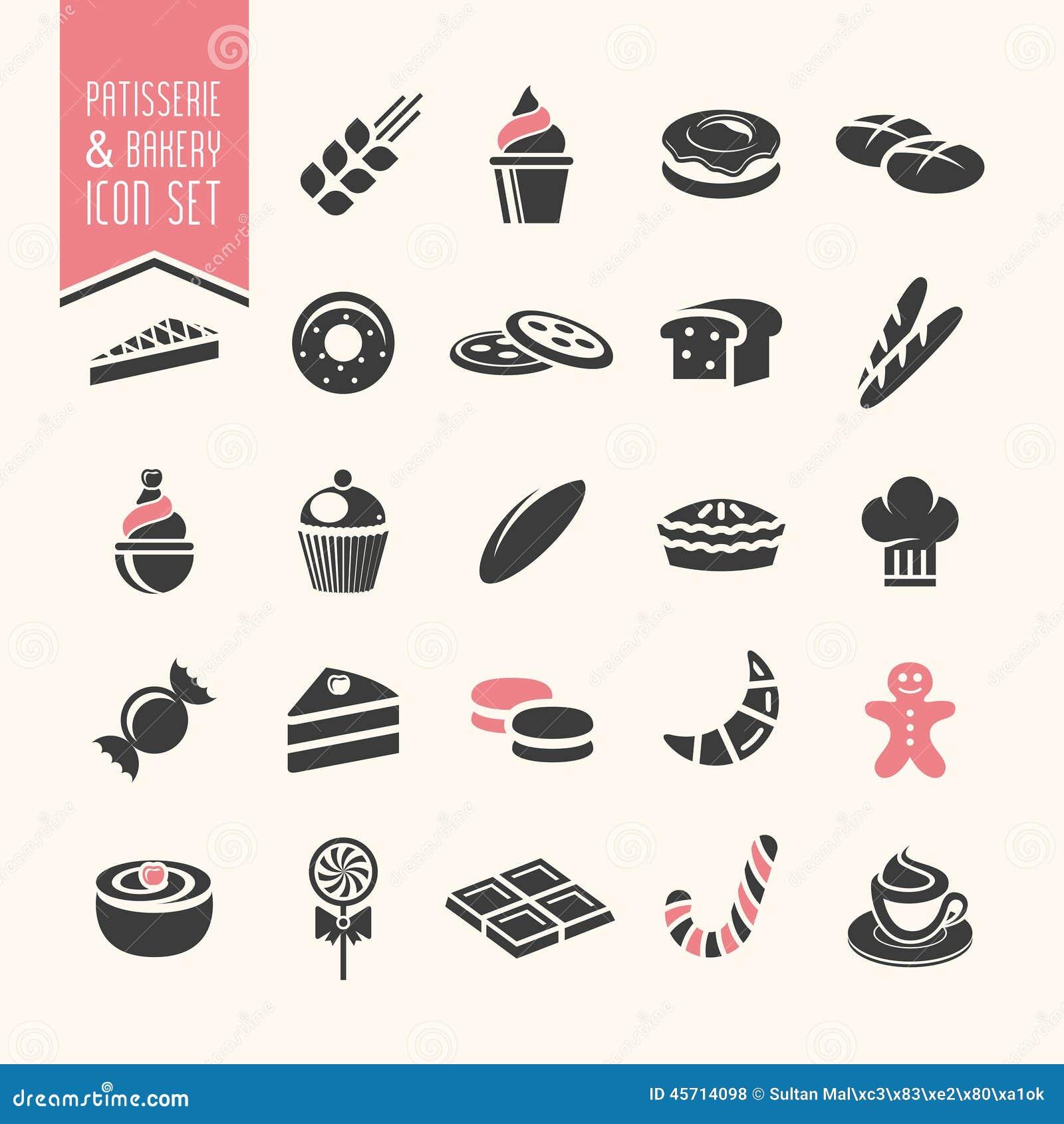 Boulangerie, ensemble d icône de pâtisserie