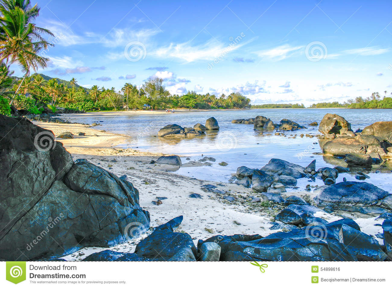 Lagoon Tropical Island: Boulders Rest In A Crystal Clear Lagoon On The Tropical