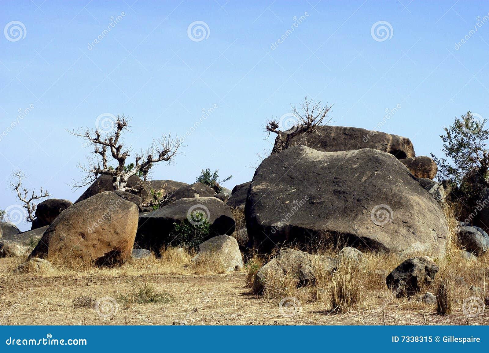 Boulders in savanna landscape royalty free stock photo for Landscaping rocks savannah ga